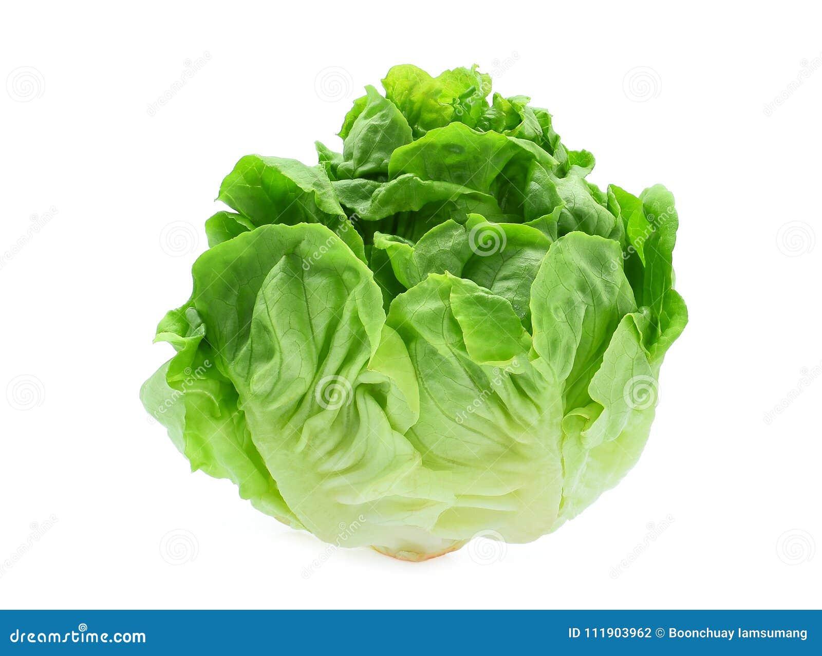 Nytt behandla som ett barn cos, grön grönsallat som isoleras på vit