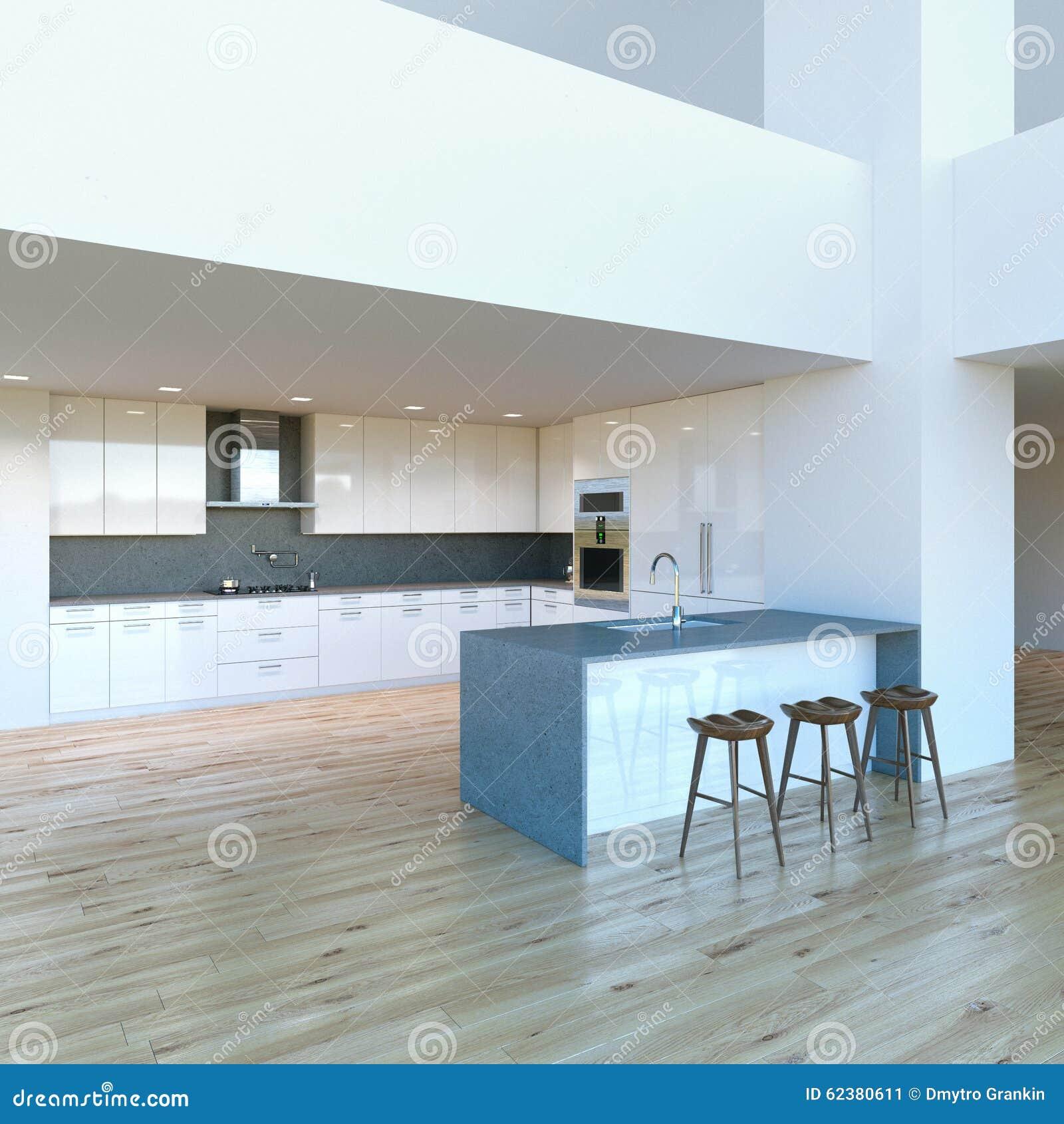 Nytt dekorerat modernt vitt kök i lyxig stor studio stock ...