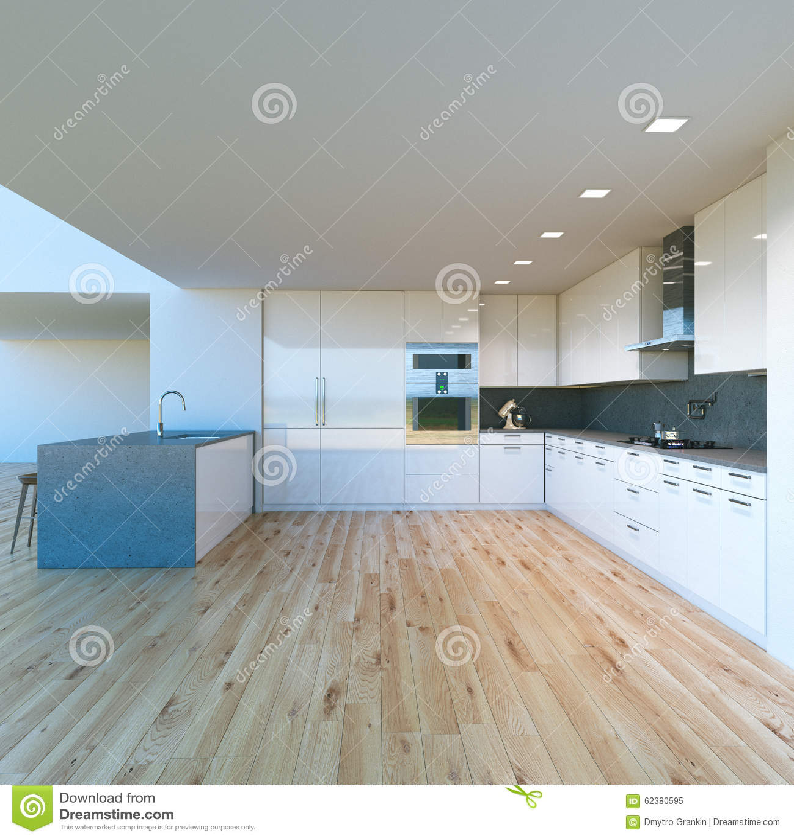 Vitt lyxigt kök i ett nytt modernt hem. arkivfoto   bild: 40037557