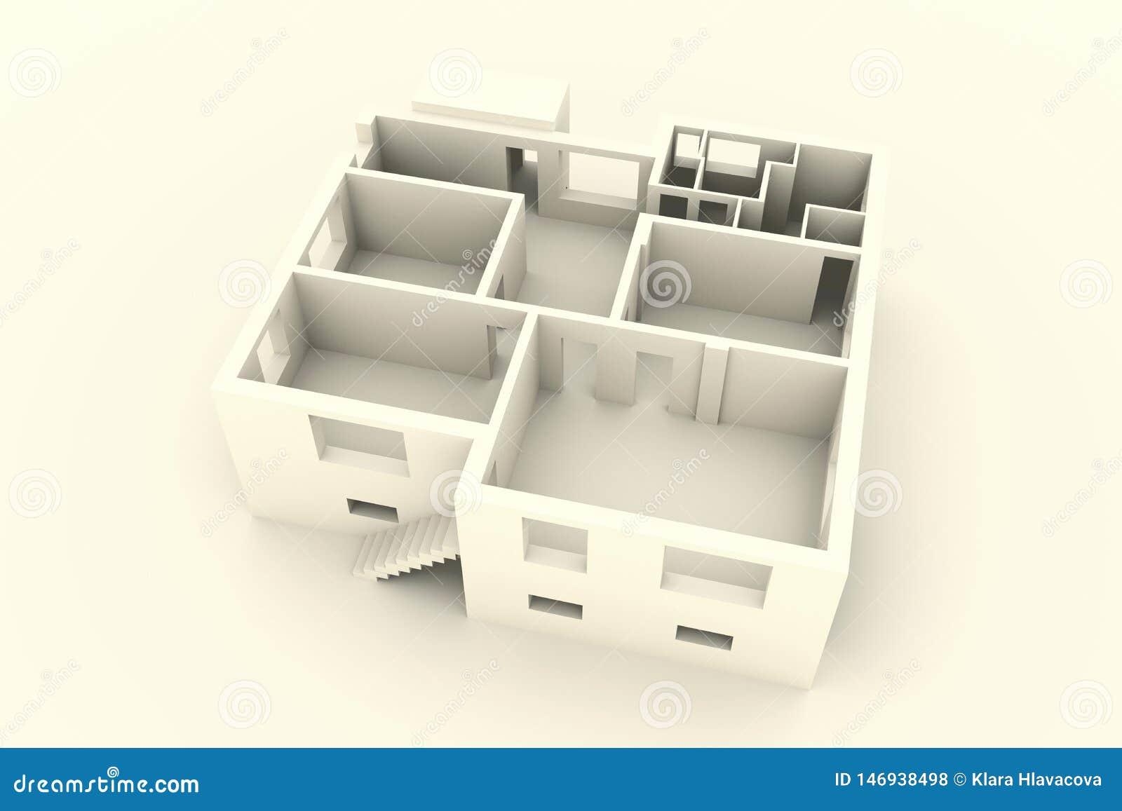 Nytt hus på vit bakgrund - bästa sikt - inre