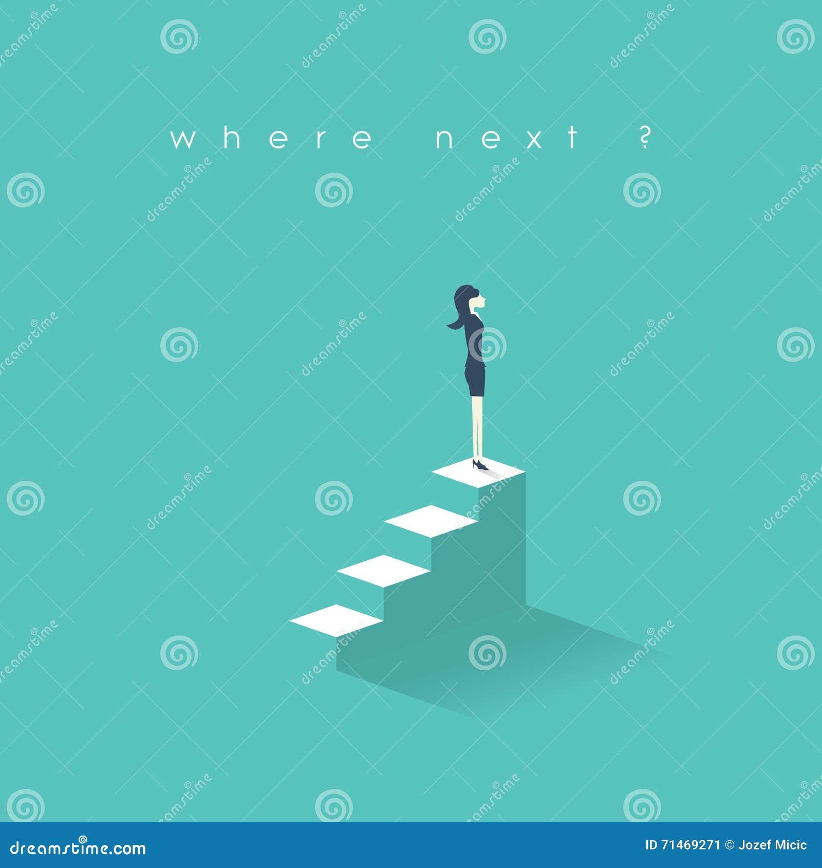 Nytt tillfällebegrepp för affärskvinna Tillväxt för karriär för affärskvinnor på företags stege