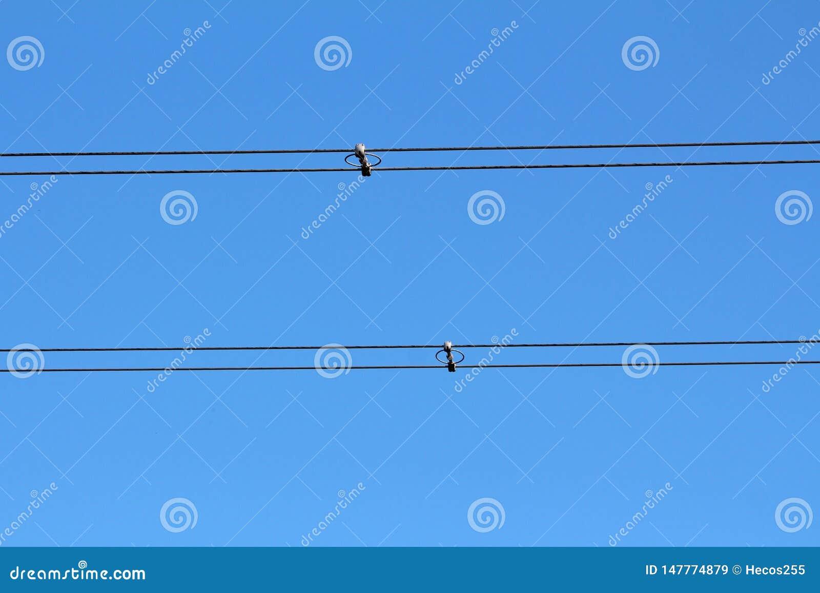 Nytto- svarta elektriska trådar för kraftledning som tillbaka rymms samman med isolatorer och avståndsmätare på klar blå himmel