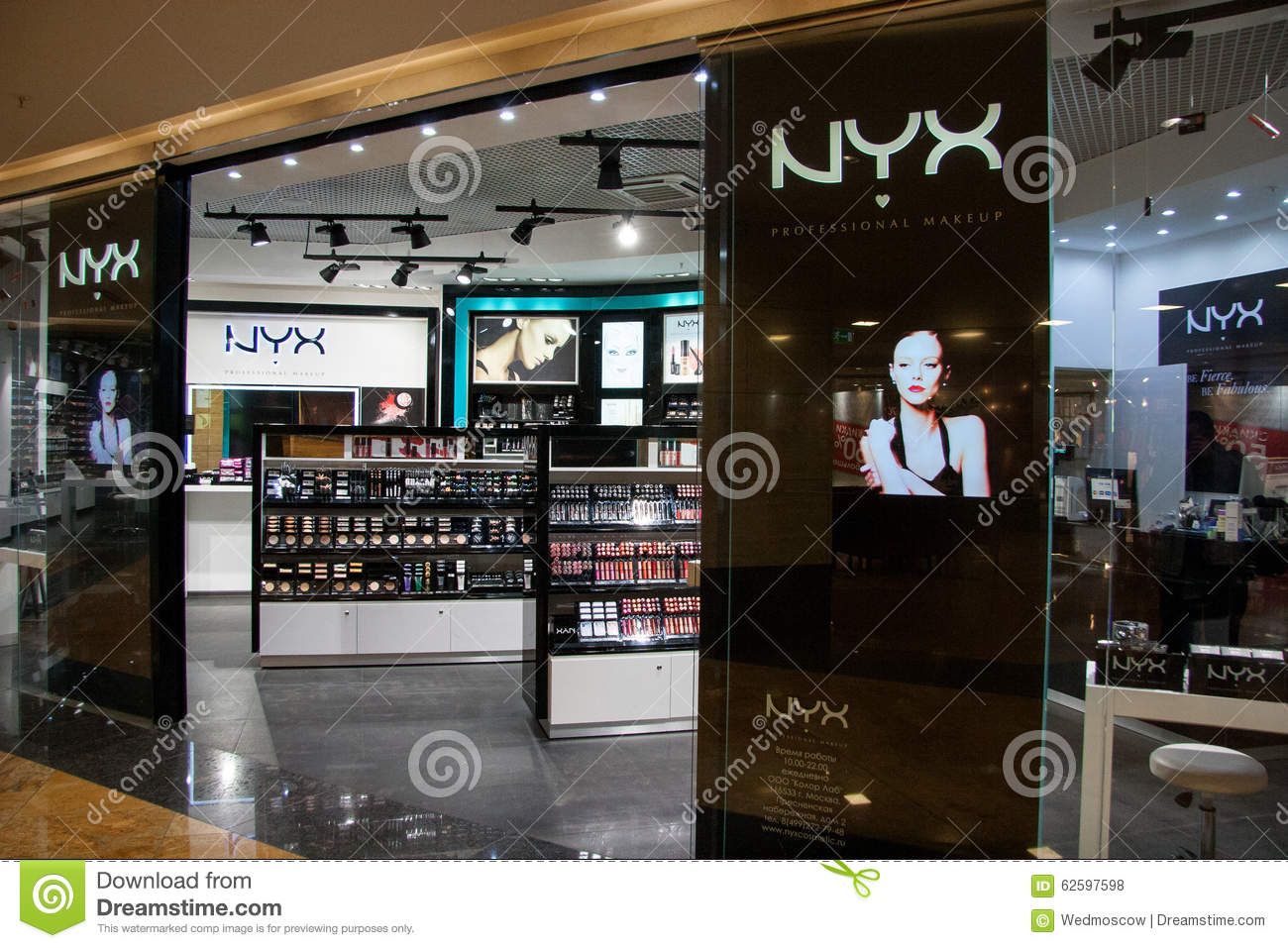 nyx store professional makeup in shopping mall moscow city editorial stock photo image 62597598. Black Bedroom Furniture Sets. Home Design Ideas