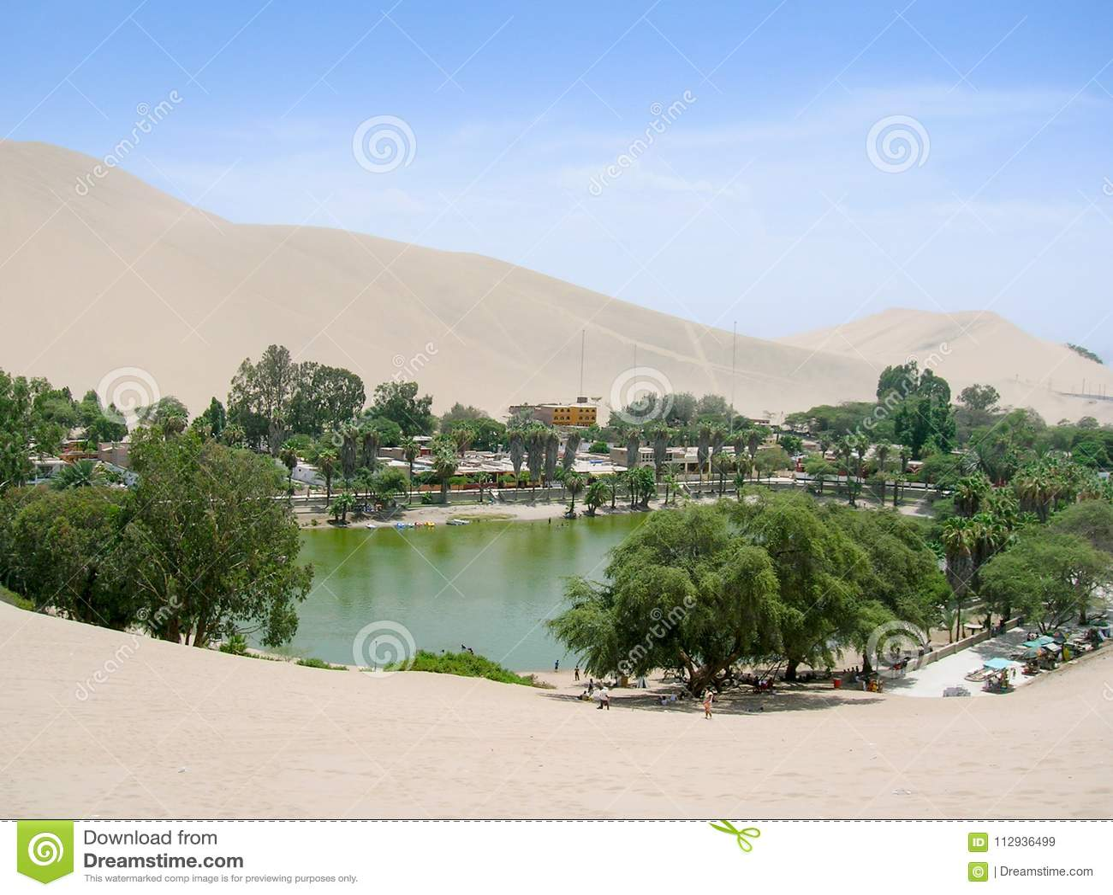 Oásis no deserto da lagoa do Peru