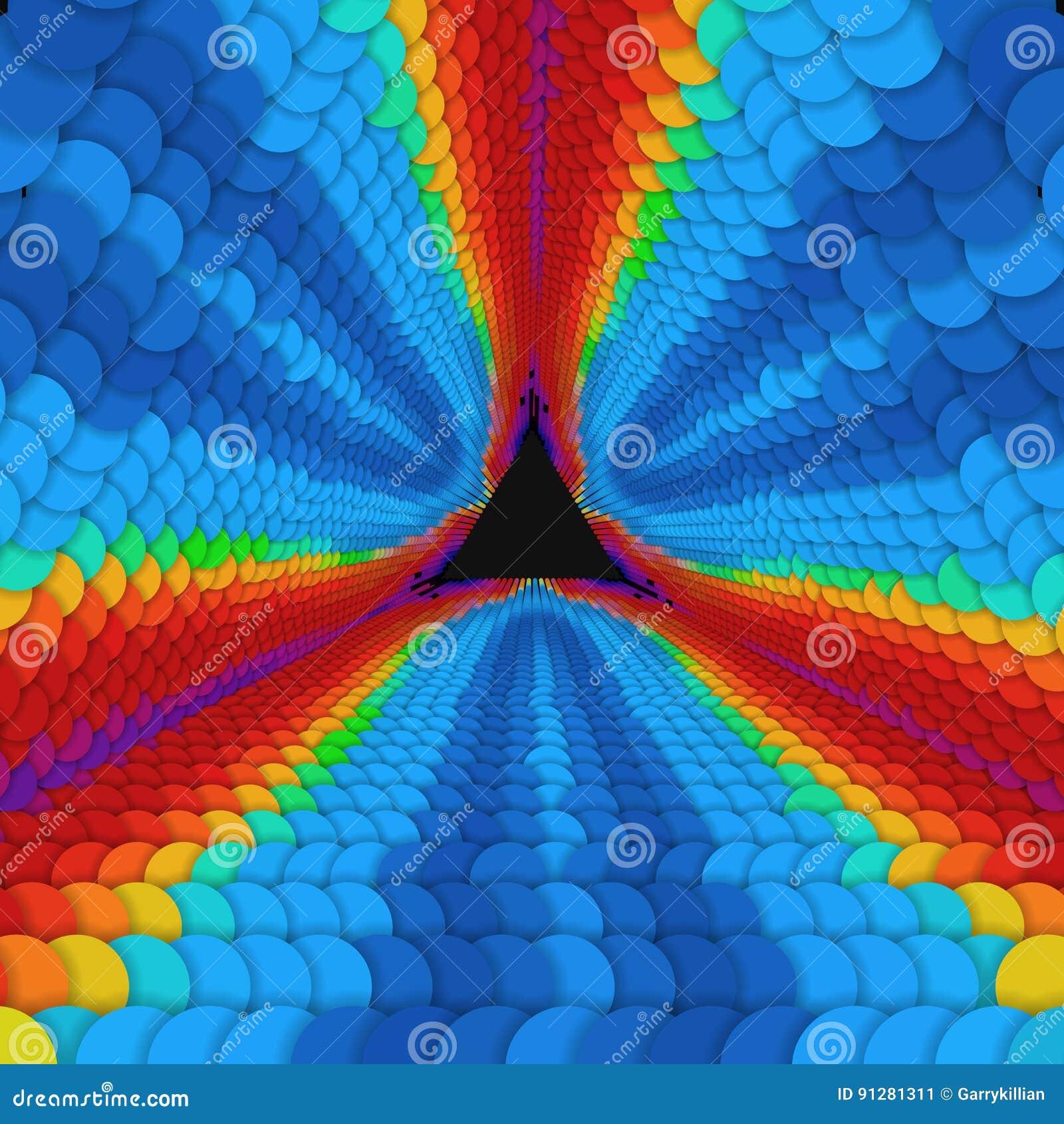 Oändlig triangulär tunnel för vektor av färgrika cirklar på mörk bakgrund Sektorer för sfärformtunnel