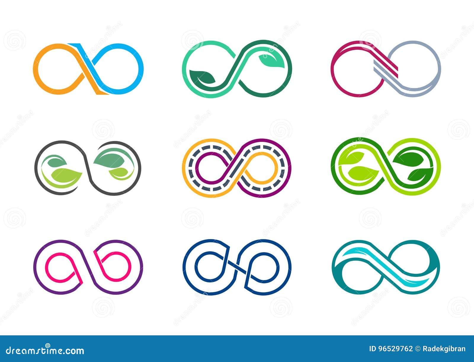Oändlighet logo, åtta, oändlig sidanatur, modern abstrakt oändlighetsuppsättning av designen för vektor för symbol för samlingslo