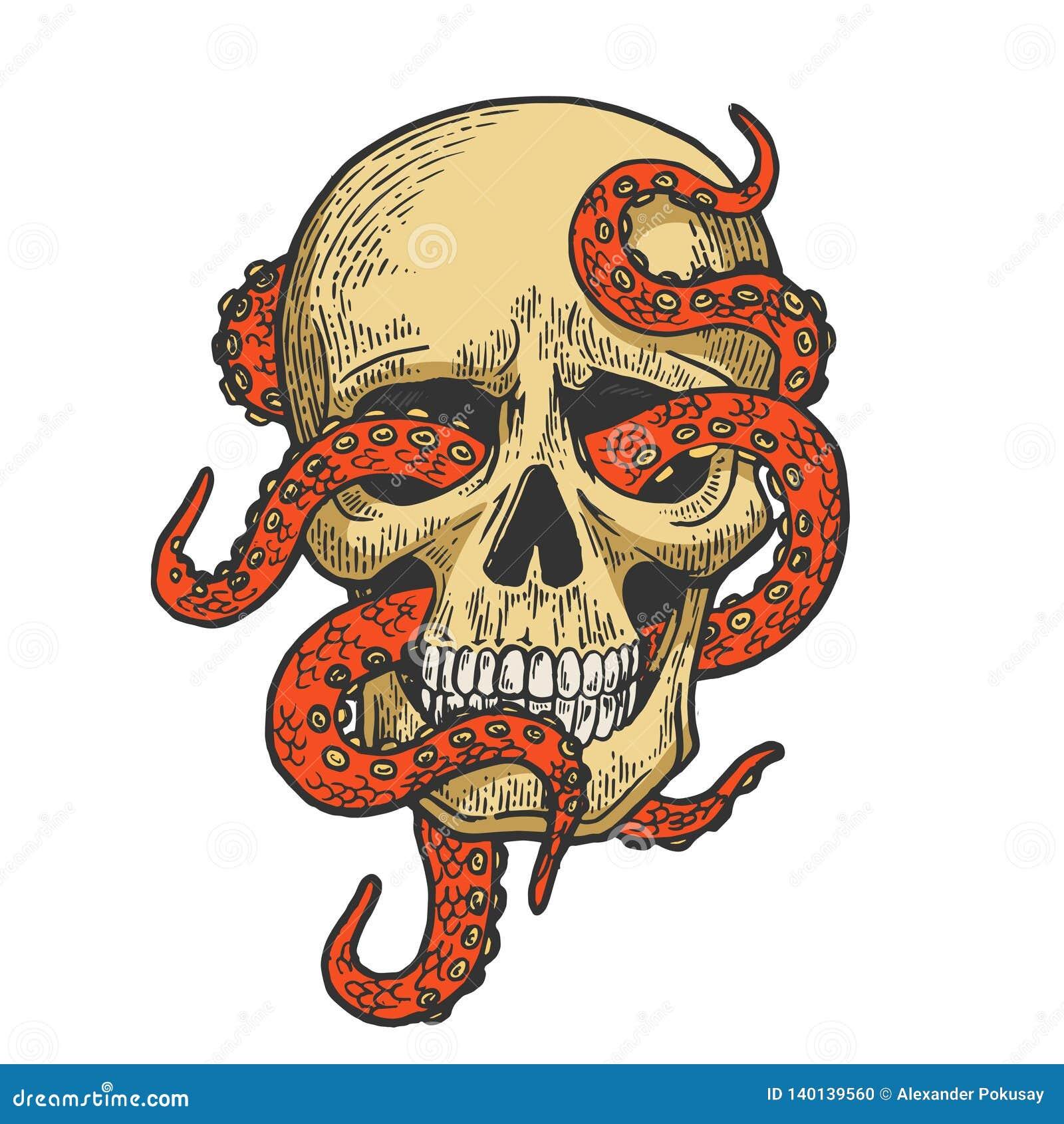 Ośmiornica w ludzkim czaszka koloru nakreślenia wektorze
