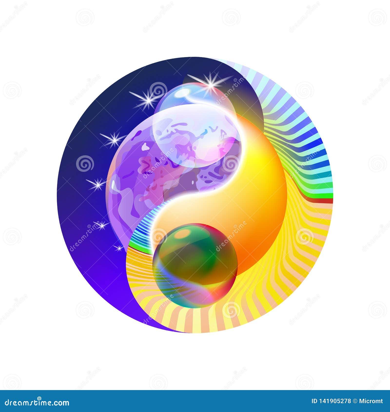 Обрядовая концепция Yin оформления и мандала Yang Красочное солнце или орнаментальная луна, духовная релаксация современное голуб