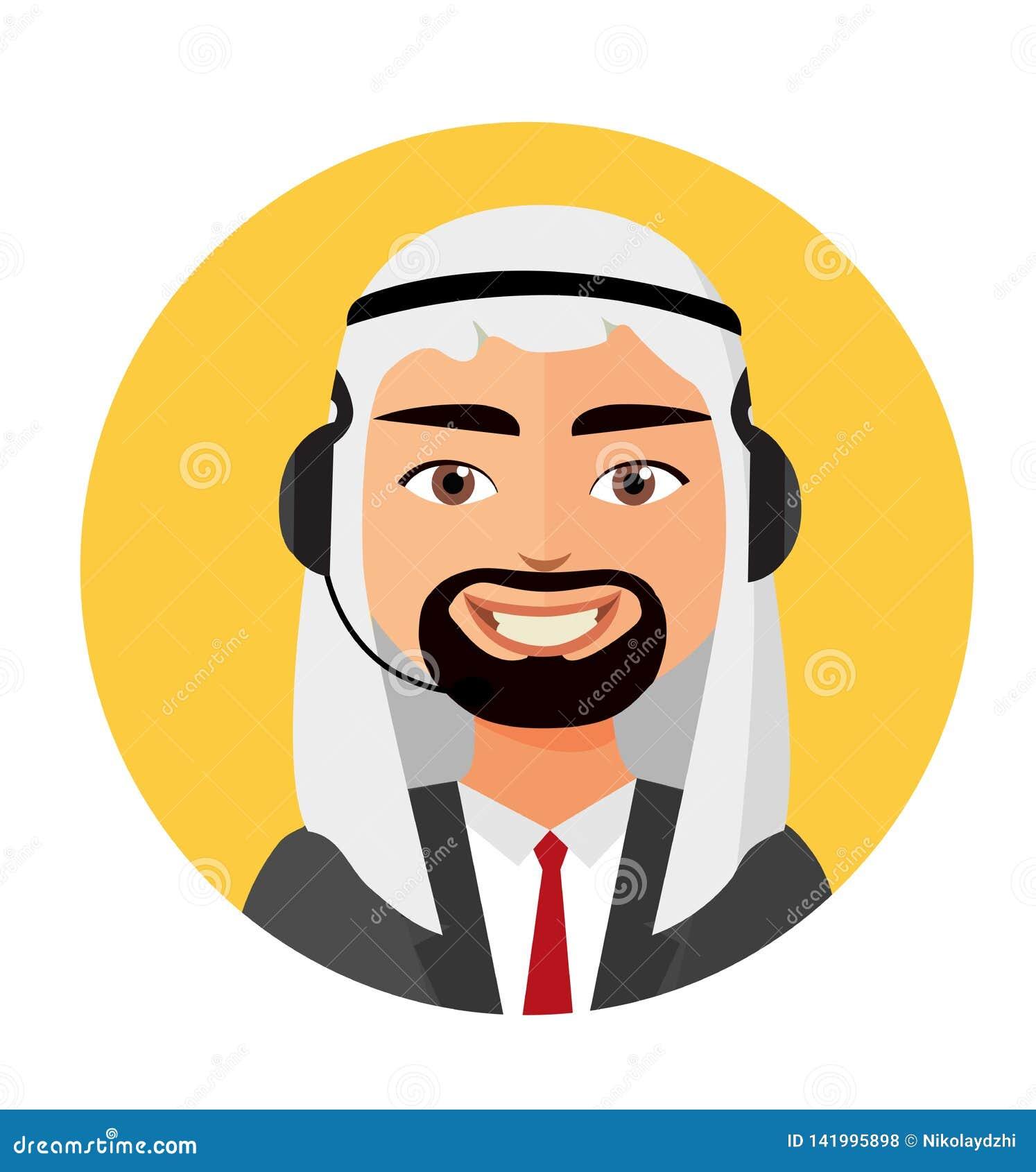 Оператор человека центра телефонного обслуживания арабский с обслуживаниями клиента значка шлемофона знонит по телефону иллюстрац