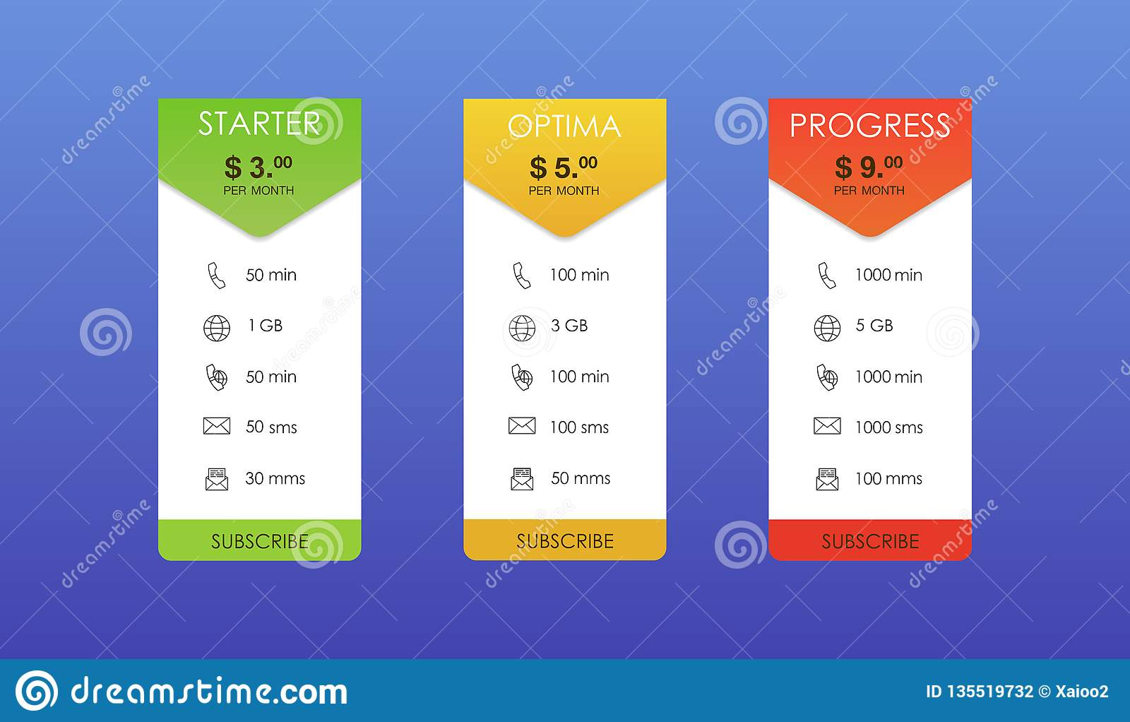Vector design for web app. Set offer tariffs. Price list.