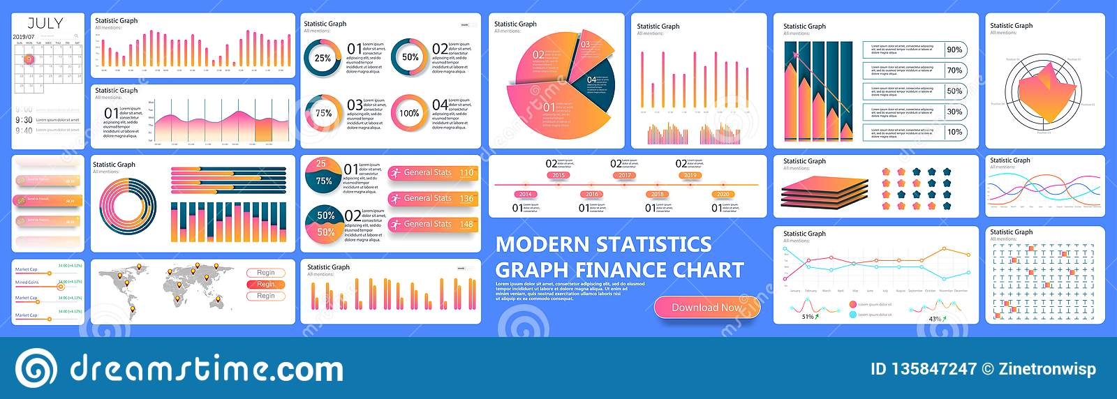 Infographic dashboard. Finance data analytic charts, trade statistic graph and modern business chart column. Analytics