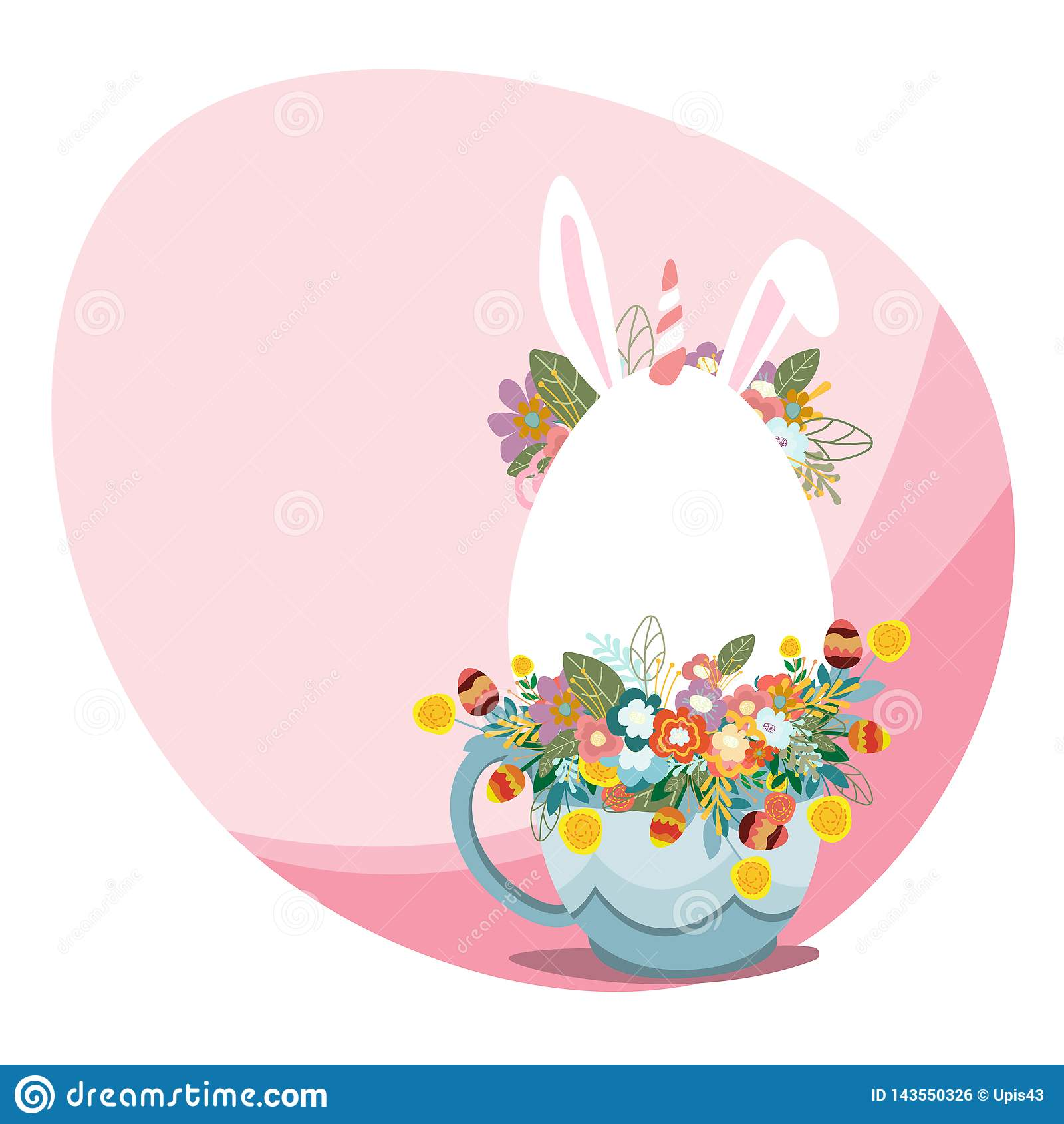 Happy Easter Greeting Card vector art illustration. Spring disign