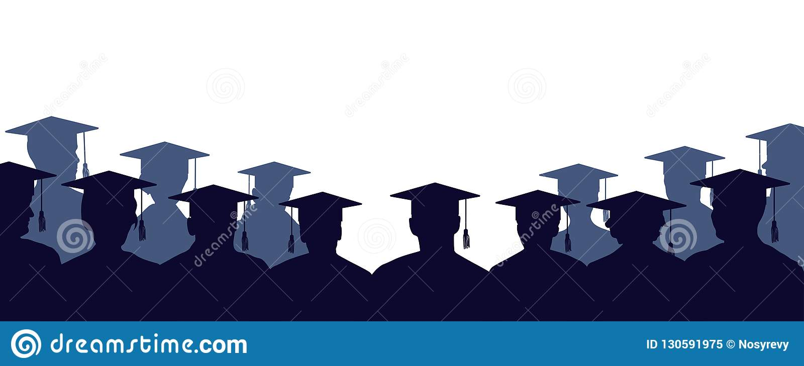 Group of university graduates. Crowd of people of students, in mantles