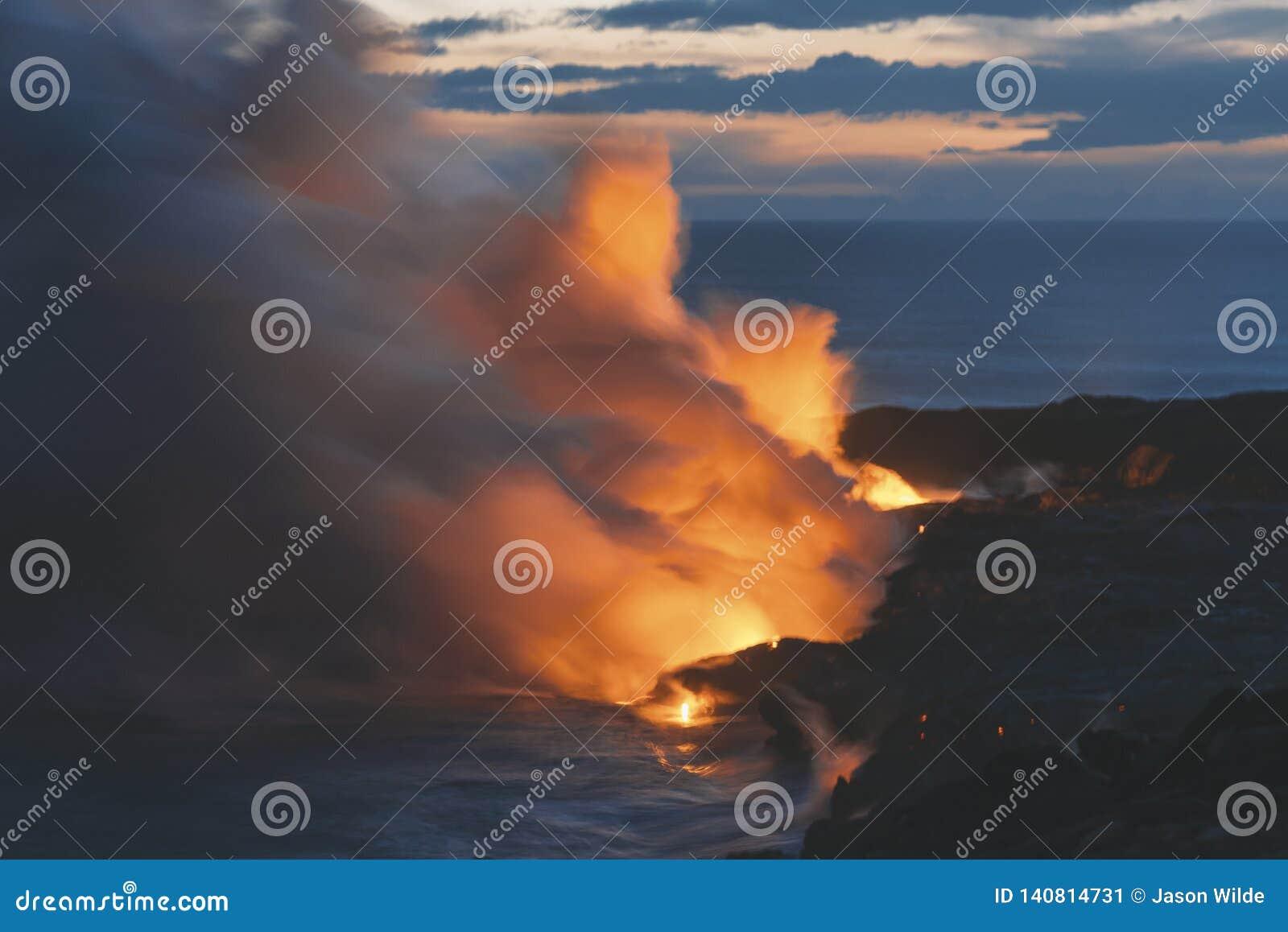 Остров США Гаваи большой, волшебное scenics пляжей, заходы солнца, вулканы, утесы, фотография изящного искусства