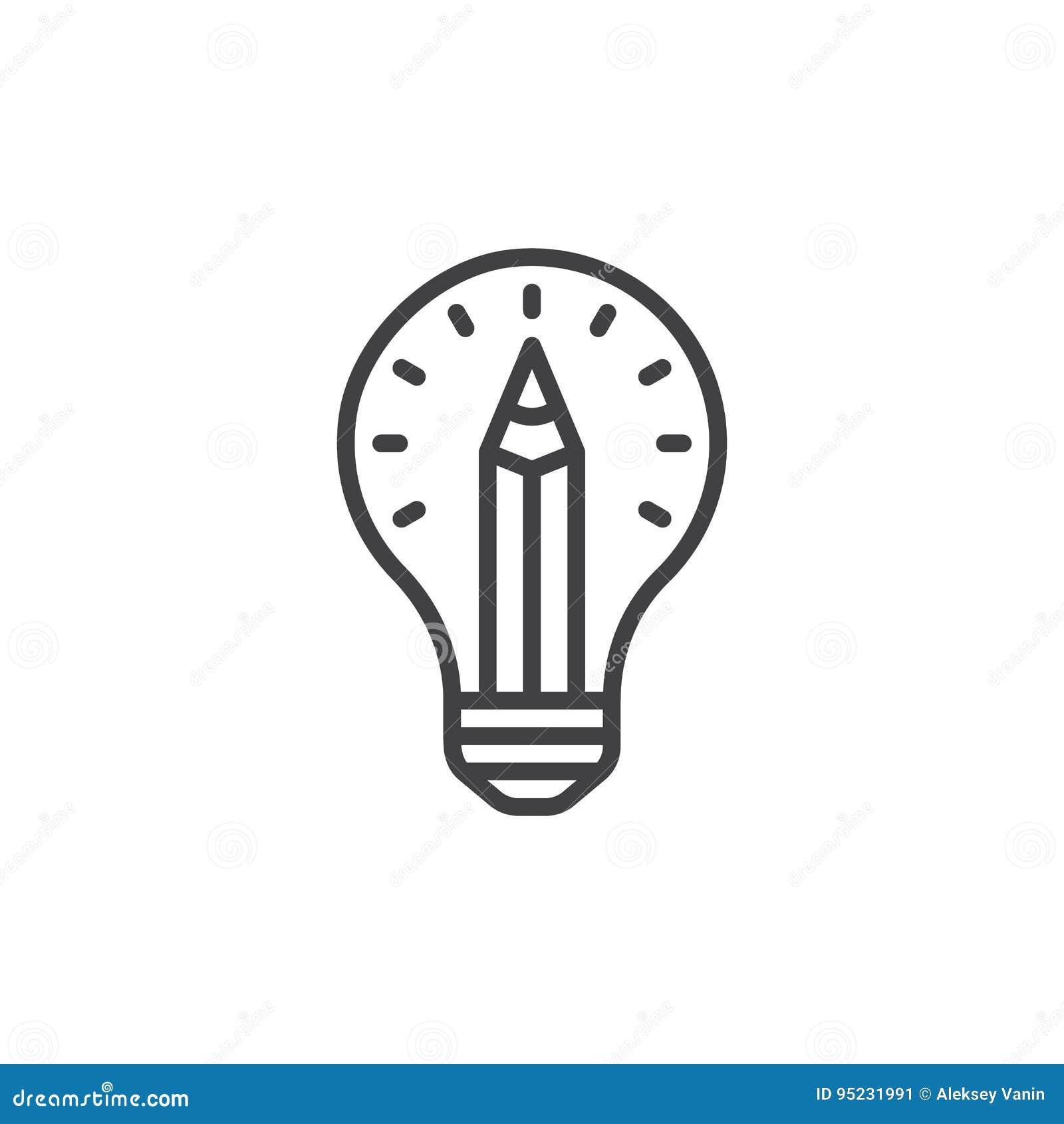 Ołówek w żarówki linii ikonie, konturu wektoru znak, liniowy stylowy piktogram odizolowywający na bielu