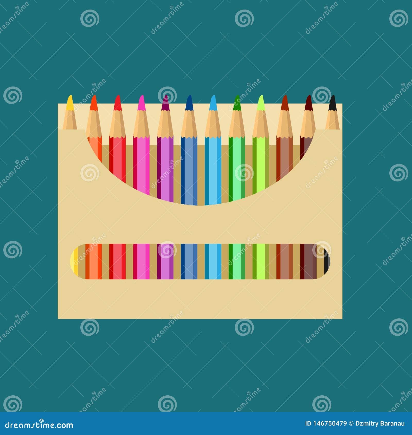 Ołówkowego pudełka ikony sztuki projekta wektorowa edukacja Koloru remisu szkolnego papieru ustalony wyposażenie Jaskrawy drewnia