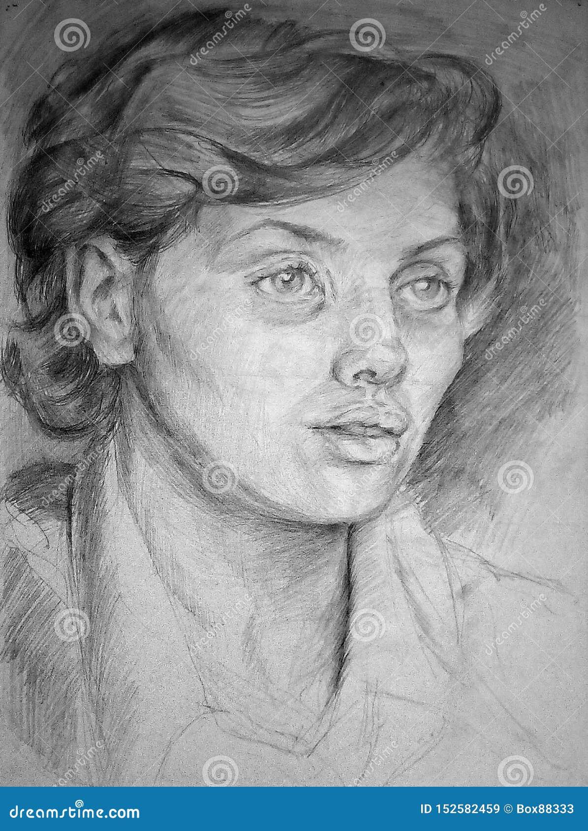 Ołówkowy nakreślenie żeńska głowa na białej księdze twarz si? portret dziewczyny zaskoczeni young
