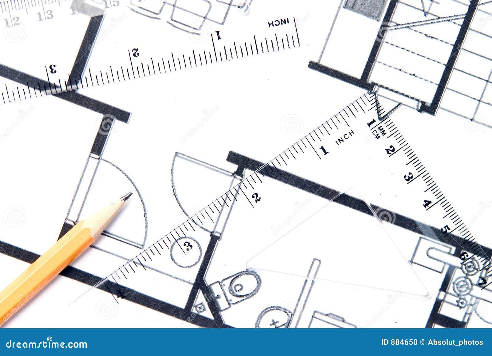 Ołówkowy plan piętra żółty