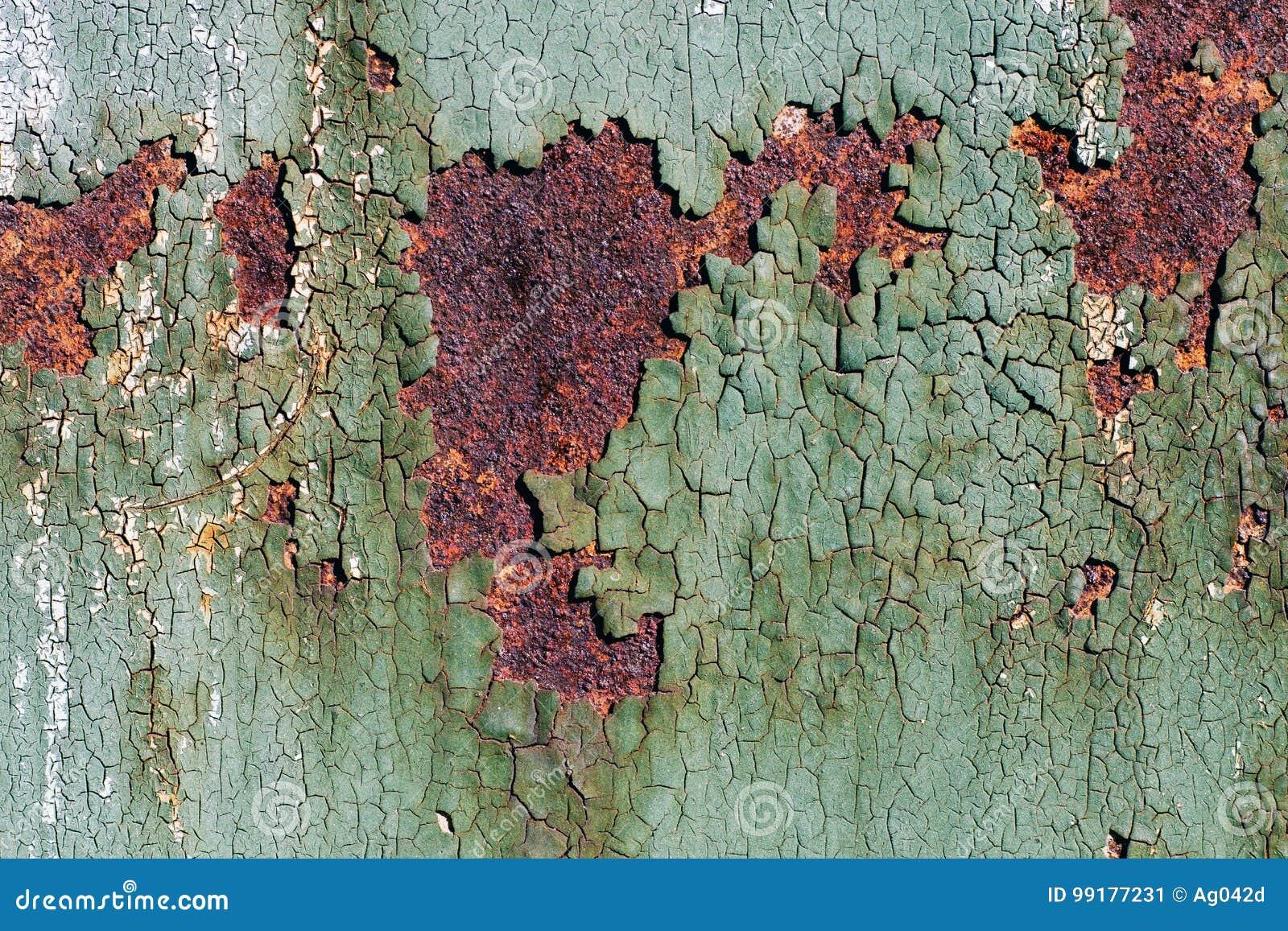 Osniedziala Metal Powierzchnia Z Krakingowa Zielona Farba