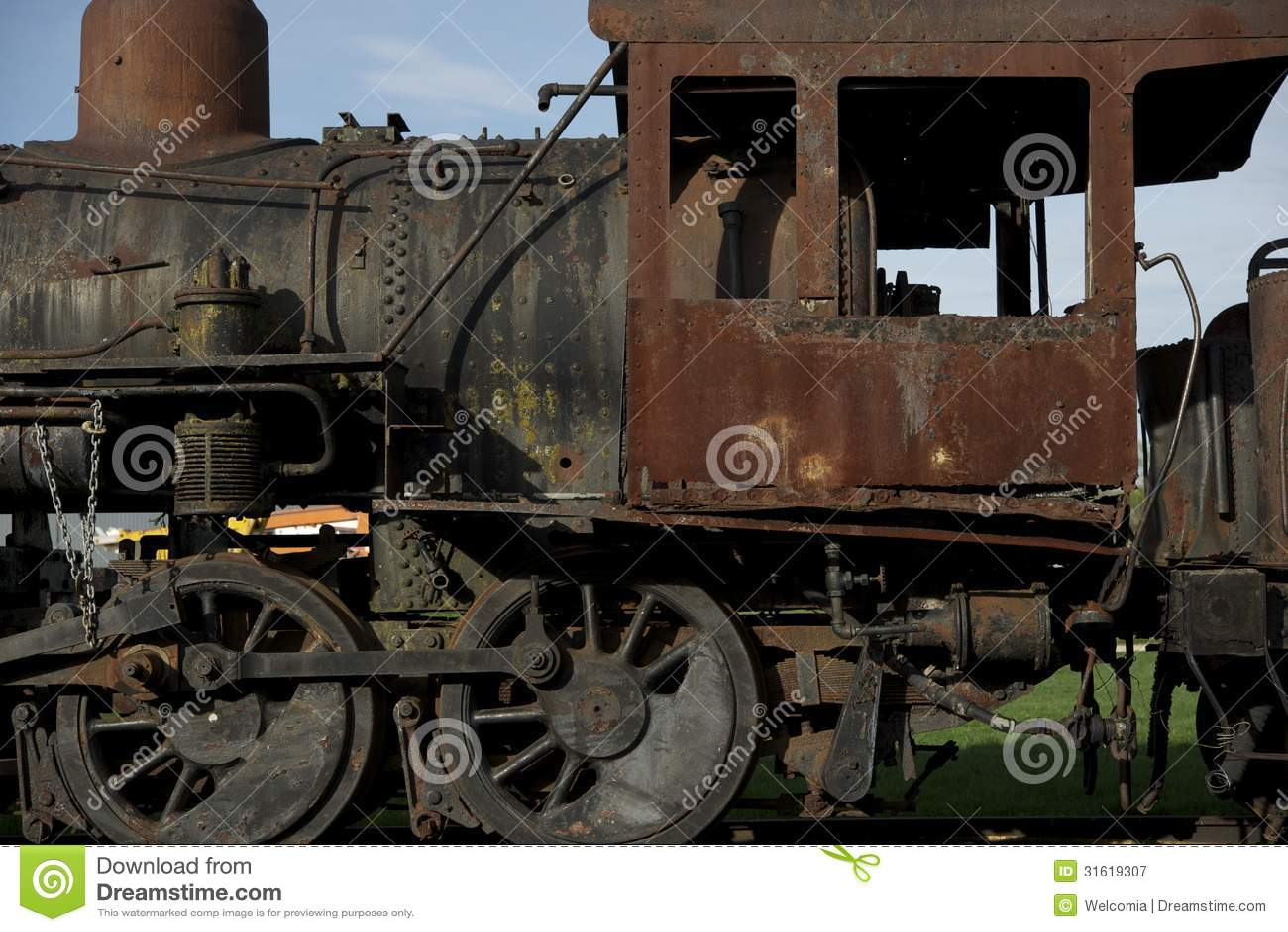 Ośniedziała Parowa lokomotywa
