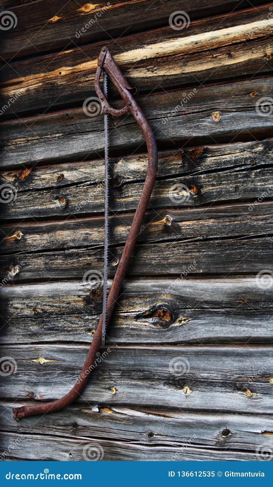 Ośniedziały stary zobaczył Fińska drewniana kabina
