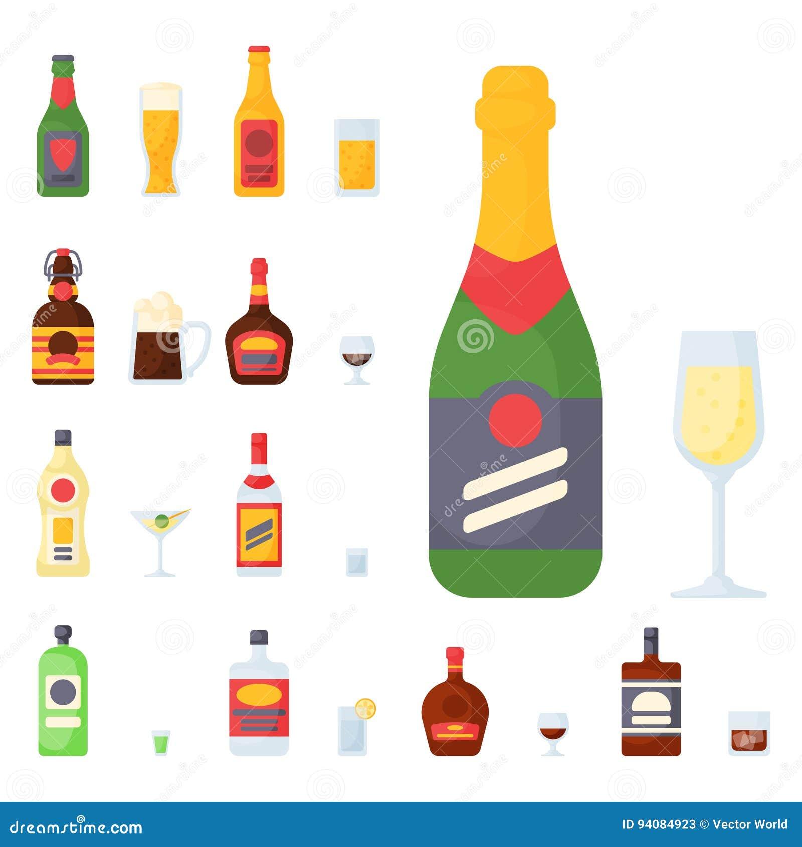 O álcool bebe a ilustração diferente bebida recipiente do vetor dos vidros da cerveja pilsen da garrafa do cocktail das bebidas