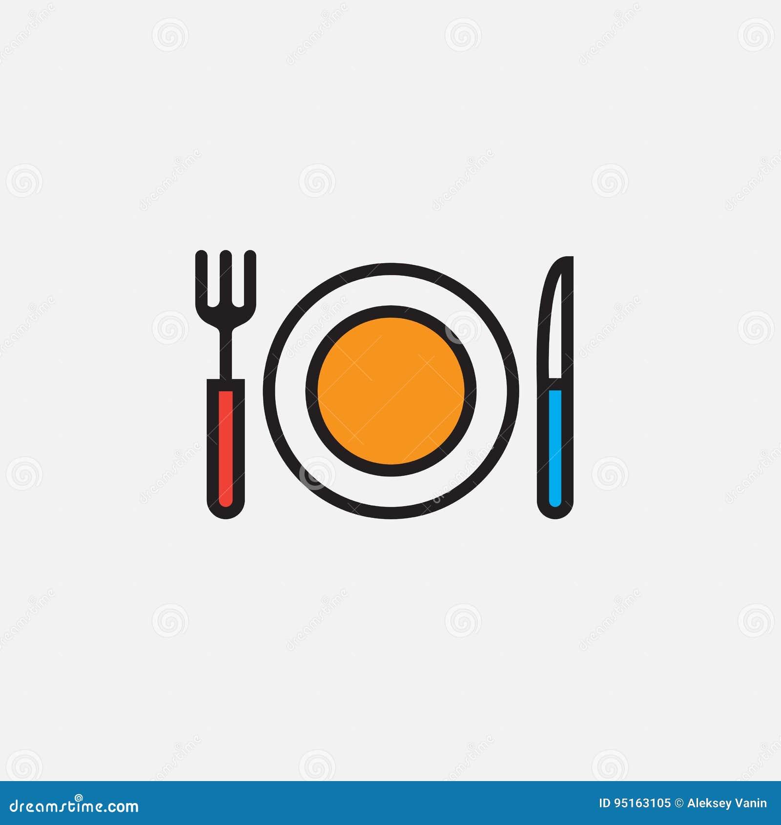 O ícone da forquilha, da faca e do prato, ilustração do logotipo do vetor do esboço, encheu o pictograma linear da cor isolado no