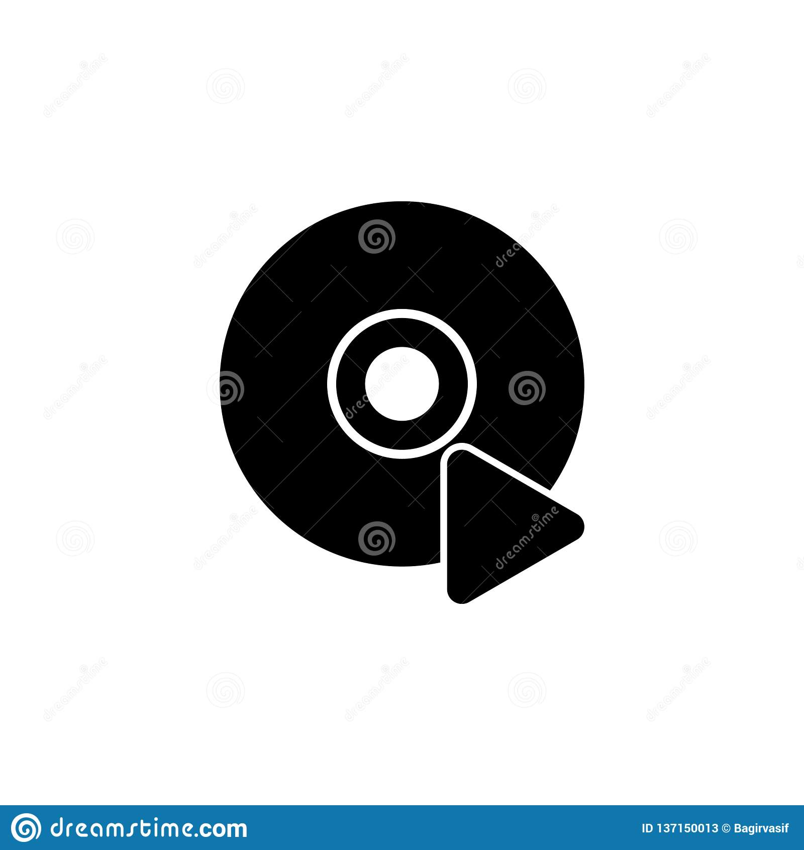 O ícone da plataforma giratória DJ e gramofone, jogador, símbolo de música Ícone liso do vetor
