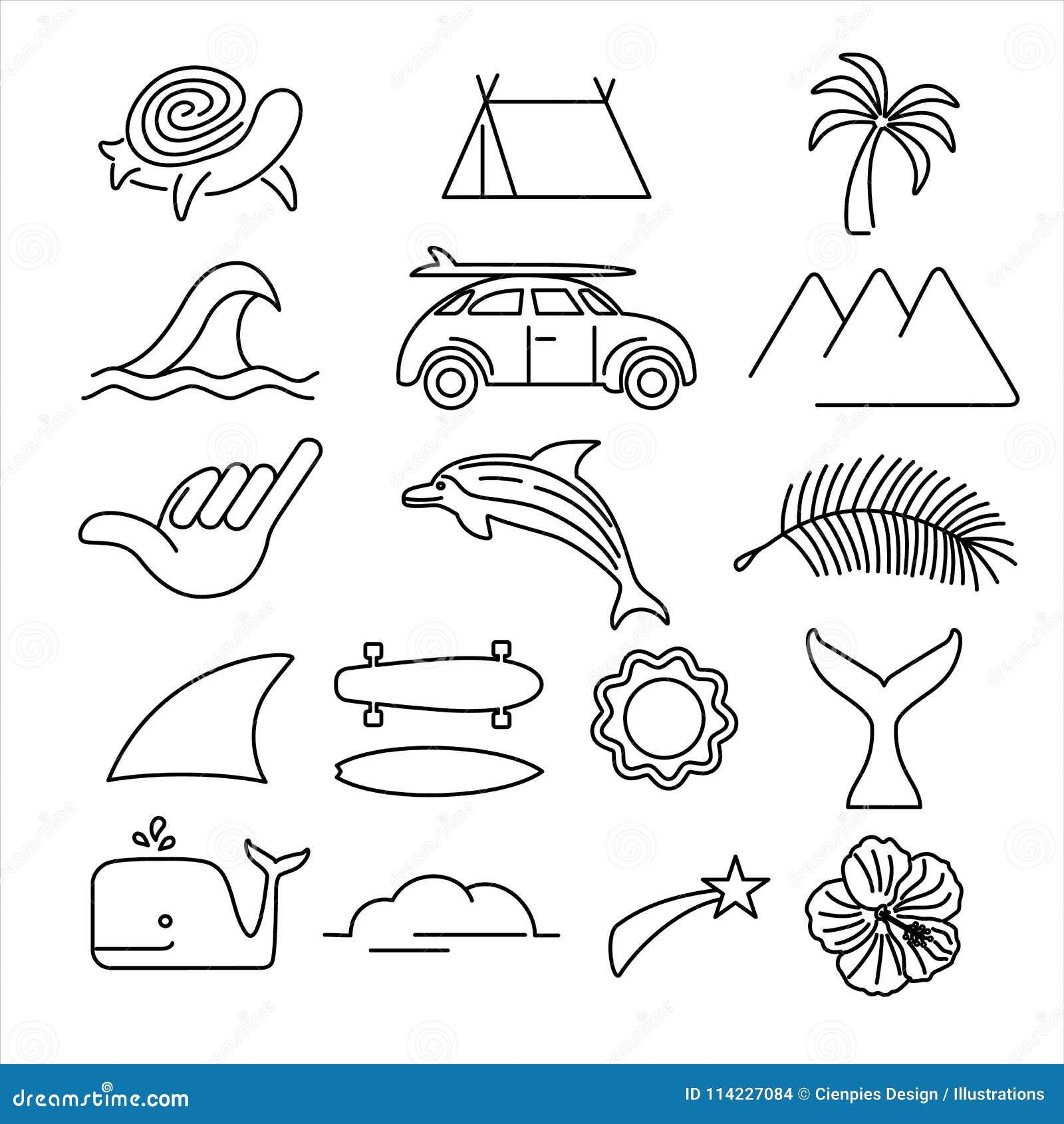 O ícone da ressaca da praia do verão ajustou-se na linha estilo da arte