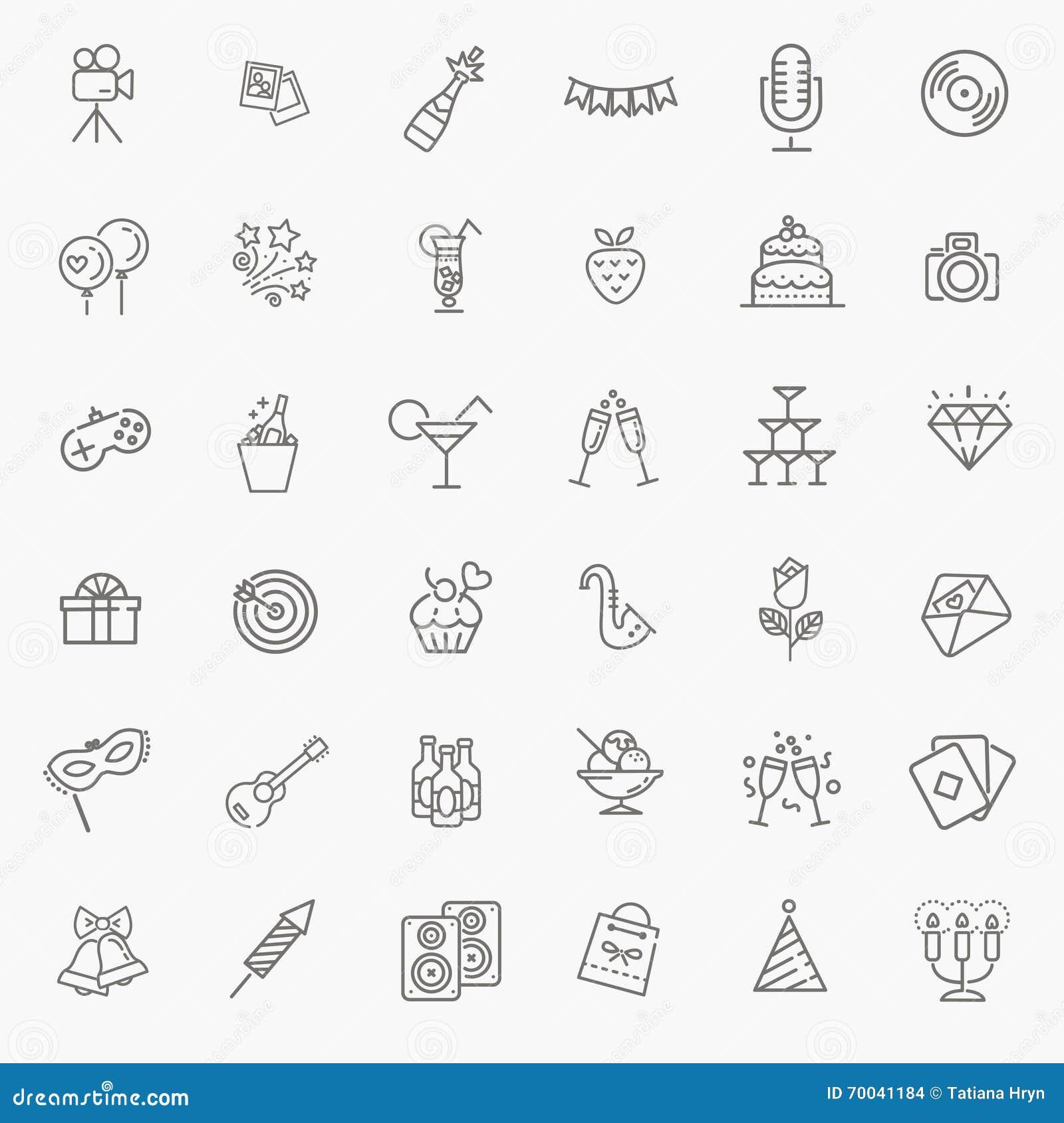 O ícone da Web do esboço ajustou - o partido, aniversário, feriados