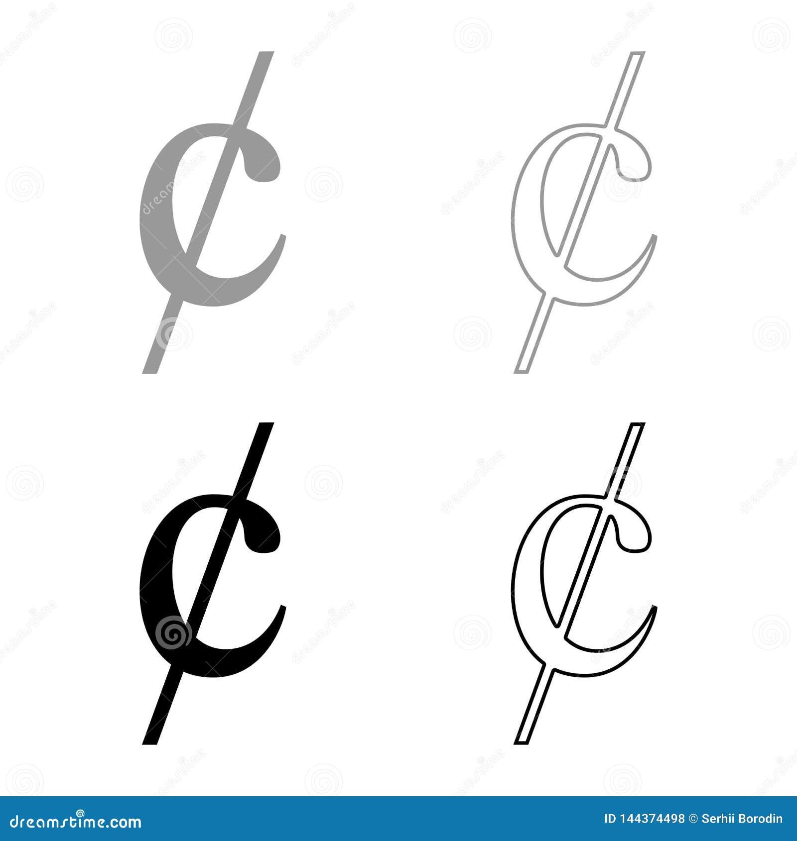 O ícone do dinheiro do dollor do sinal do símbolo do centavo ajustou a imagem lisa do estilo da ilustração preta do vetor da cor