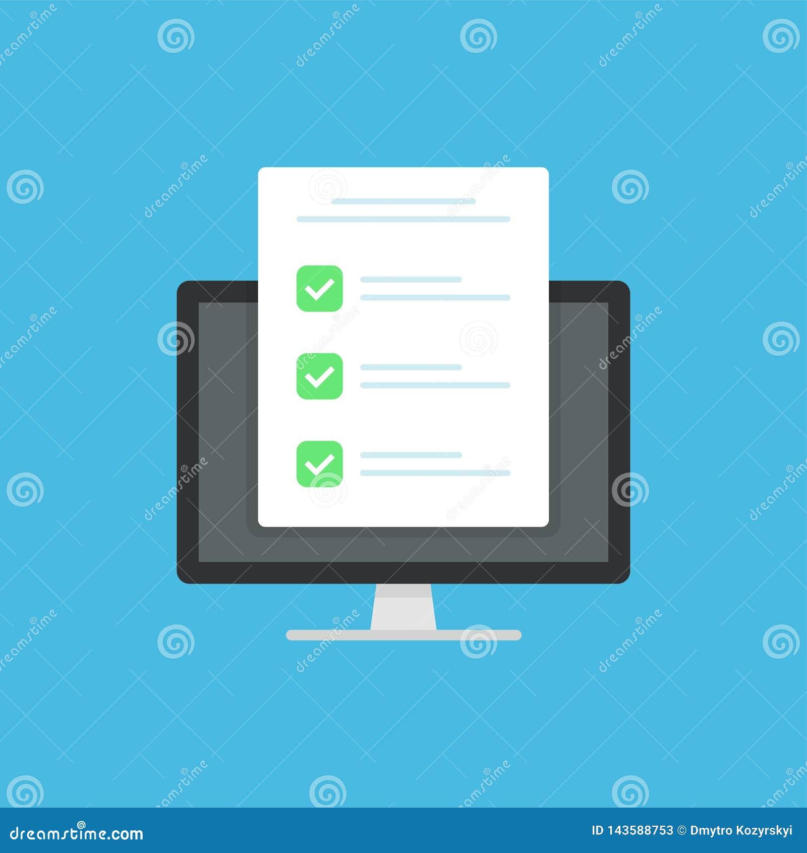 O ícone do formulário da avaliação, folha do papel dos resultados do exame do estilo liso boa com pena, ideia do formulário do qu