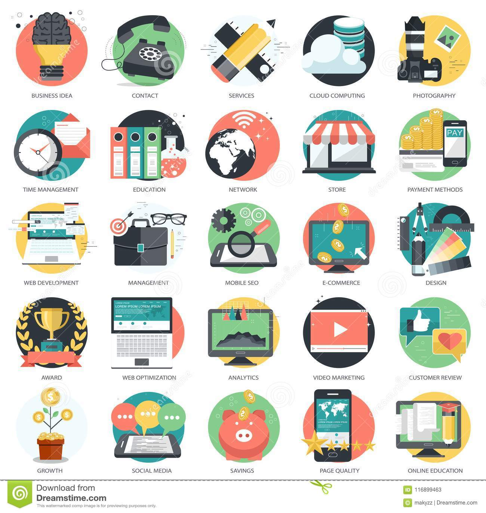 O ícone do negócio, da tecnologia e das finanças ajustou-se para Web site e aplicações e serviços móveis Vetor liso