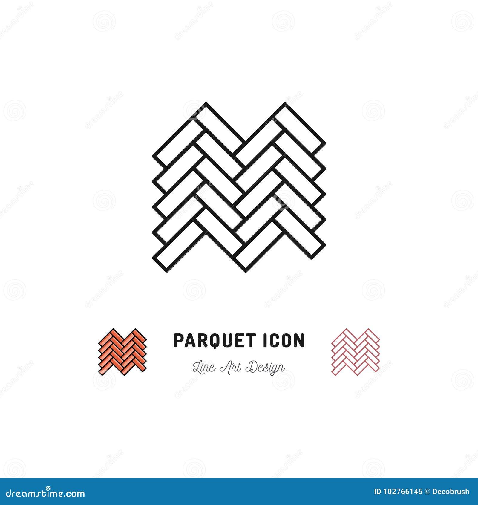 O ícone do parquet, símbolo de madeira do assoalho, Vector a linha fina símbolo da arte