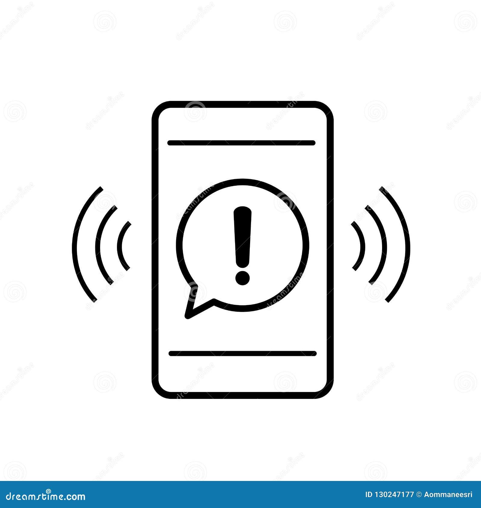 O ícone do telefone celular com atenção do aviso do perigo assina em uma bolha do discurso