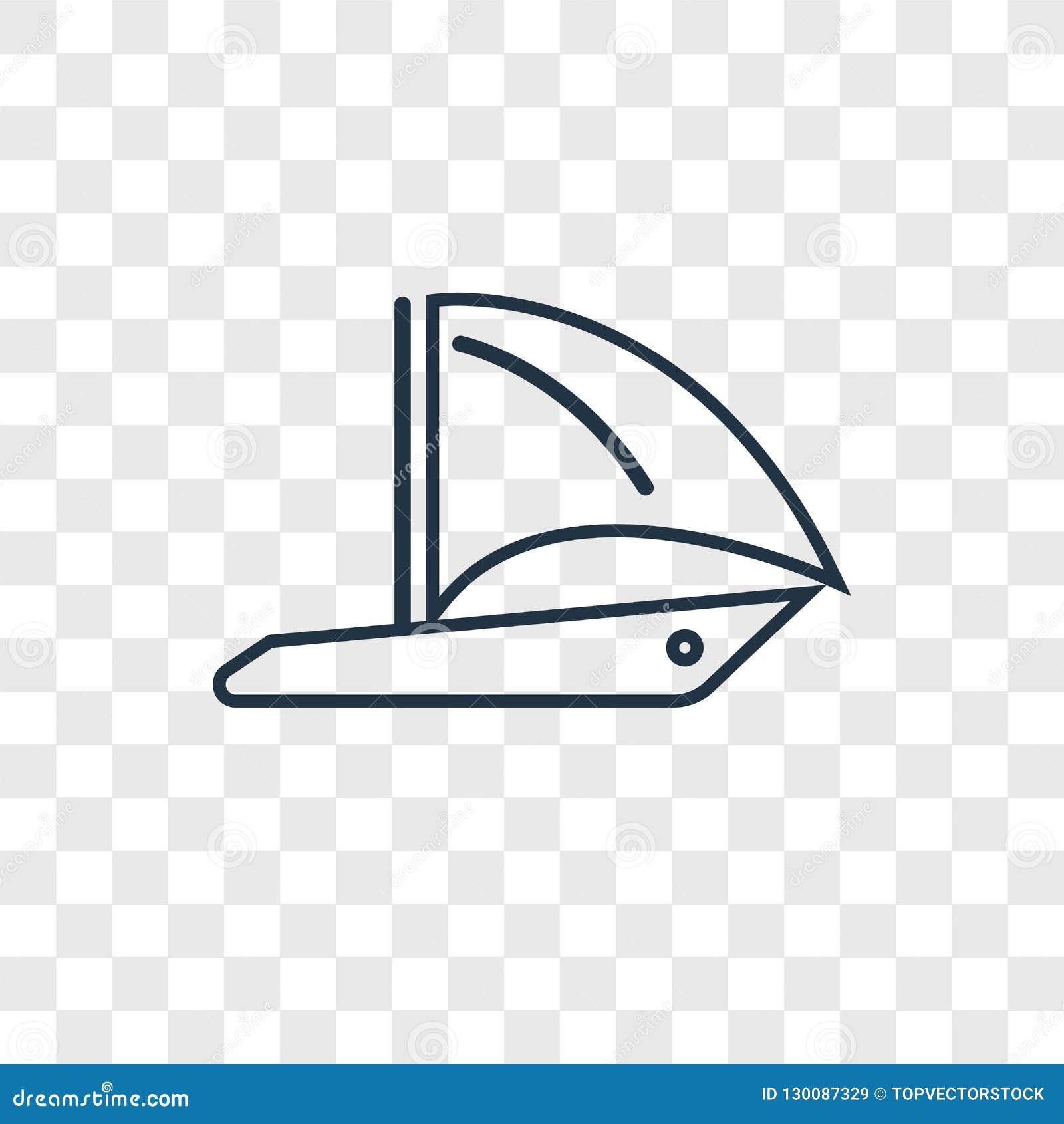 O ícone linear do vetor redondo do conceito do veleiro isolado sobre transparen