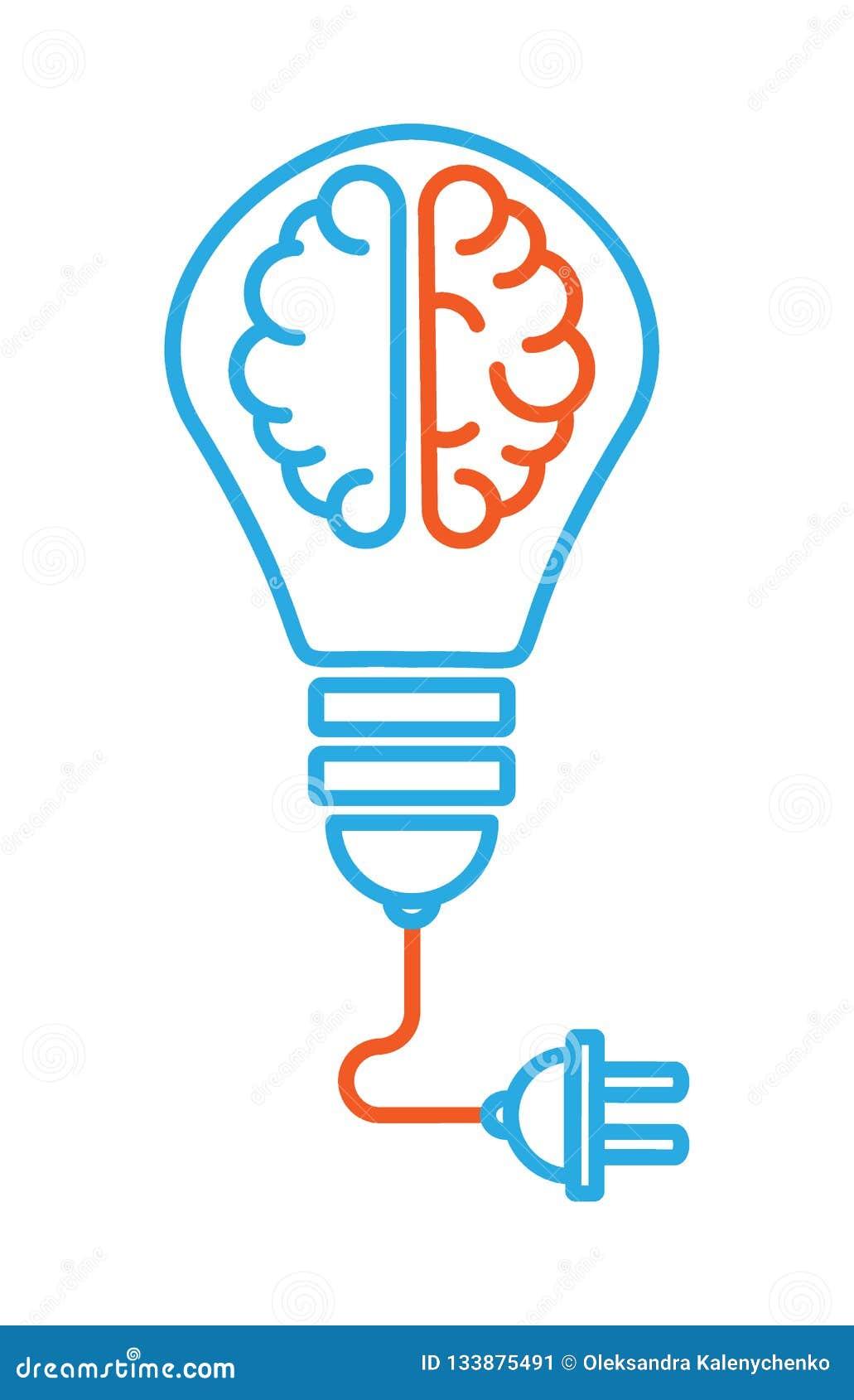 O ícone no assunto é uma boa ideia um ícone linear com dois hemisférios diferentes do cérebro dentro do bulbo, de que há um cabo