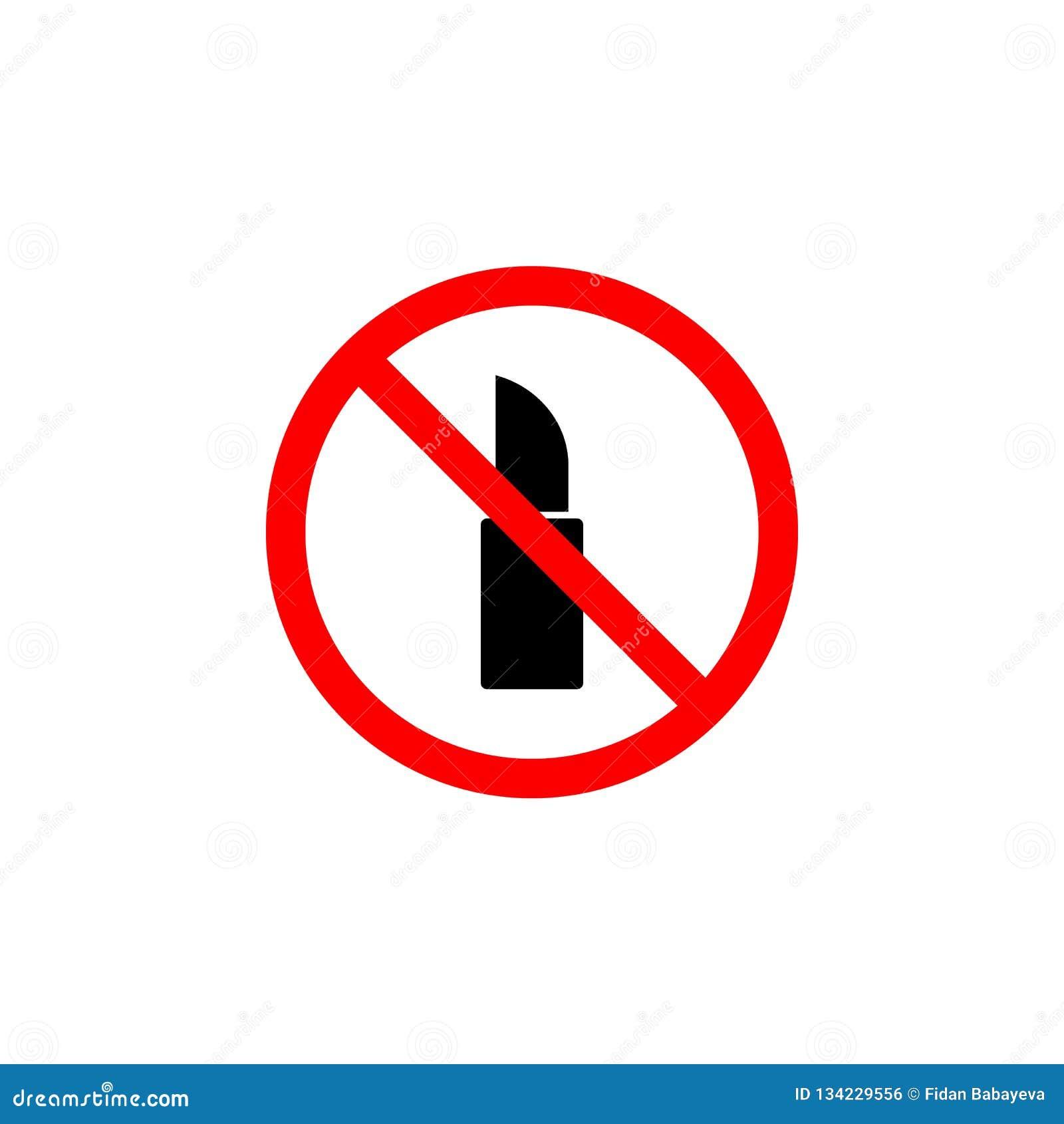 O ícone proibido do batom no fundo branco pode ser usado para a Web, logotipo, app móvel, UI UX