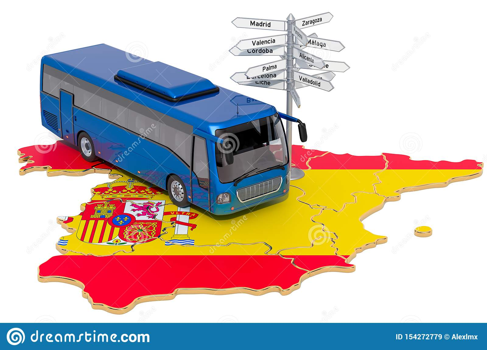 O ônibus da Espanha visita o conceito rendi??o 3d