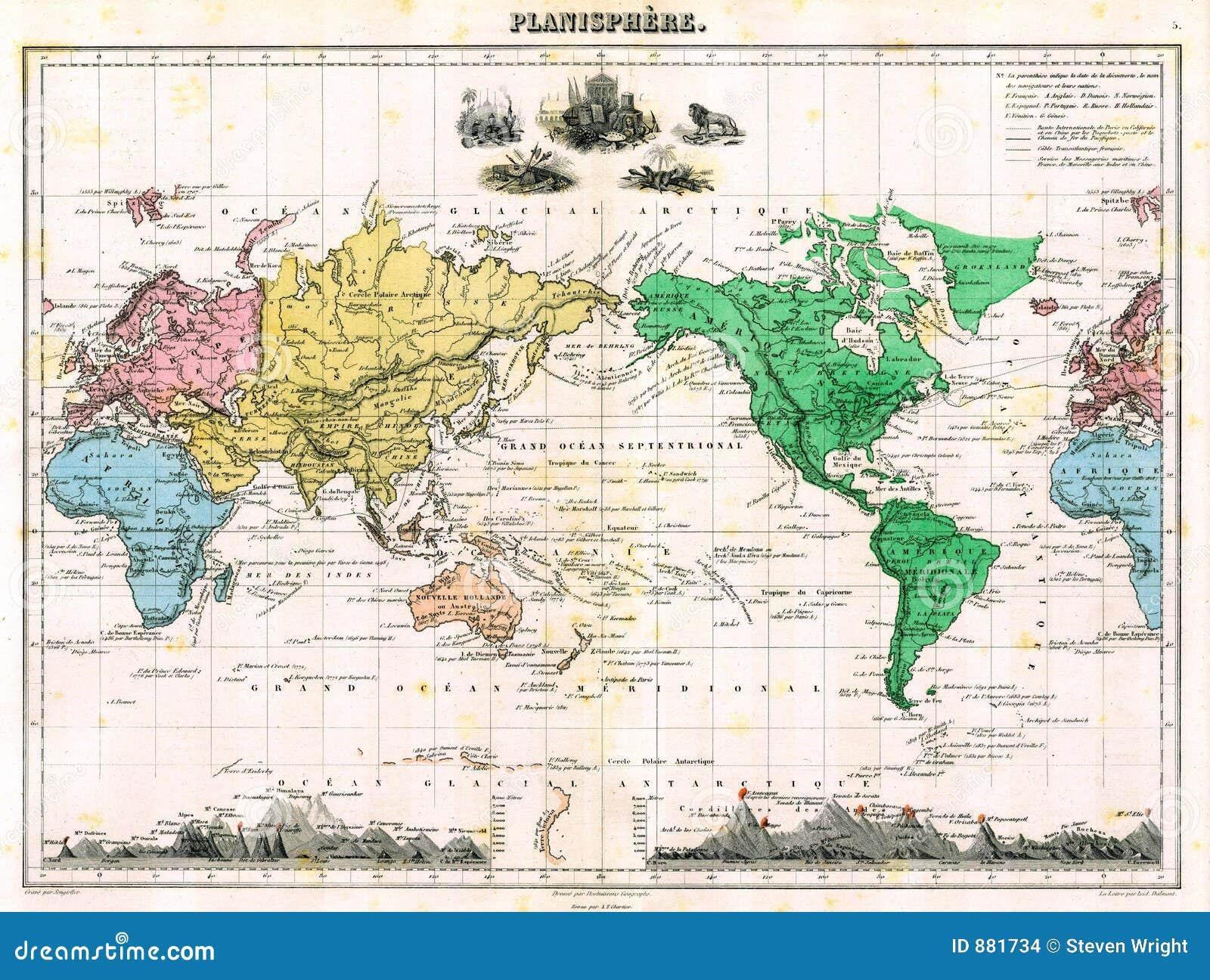 O 1870 mapy świata