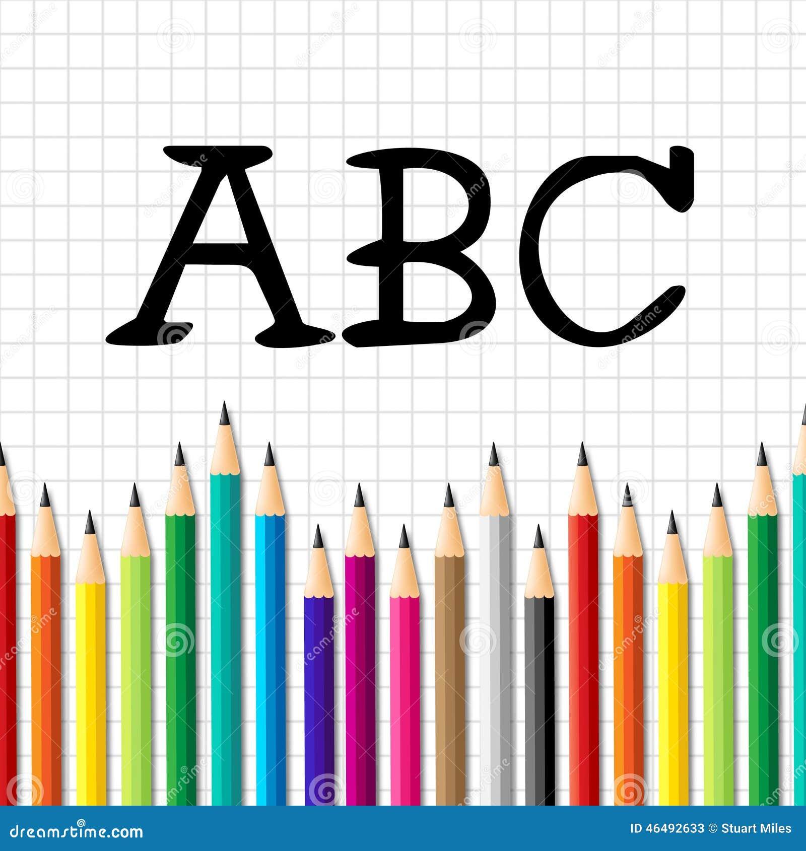 O ABC escrevem a educação adiantada dos meios e alfabéticos