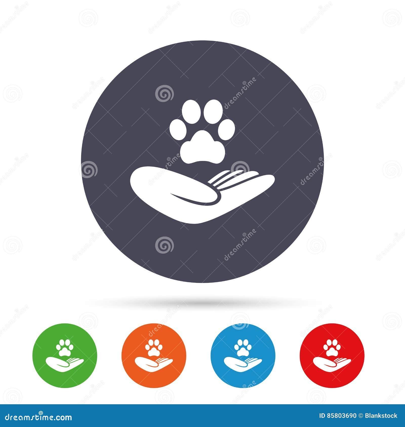 O abrigo pets o ícone do sinal A mão guarda o símbolo da pata