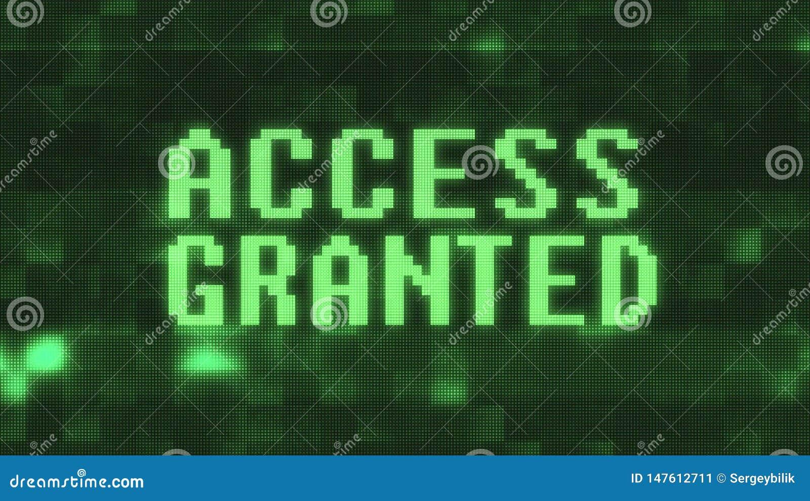 O acesso verde concedeu o texto no estoque alegre colorido do vintage do techology novo preto digital da qualidade da ilustração