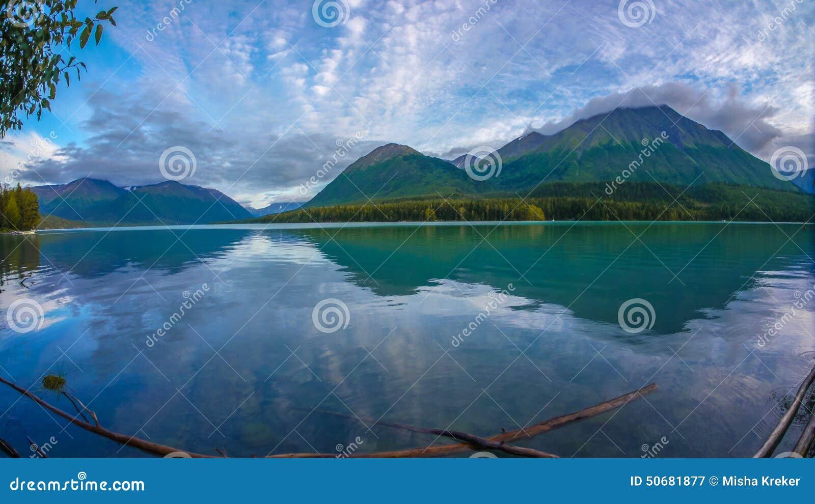 O Alaskan de Wiled ainda rebita com reflexão da montanha
