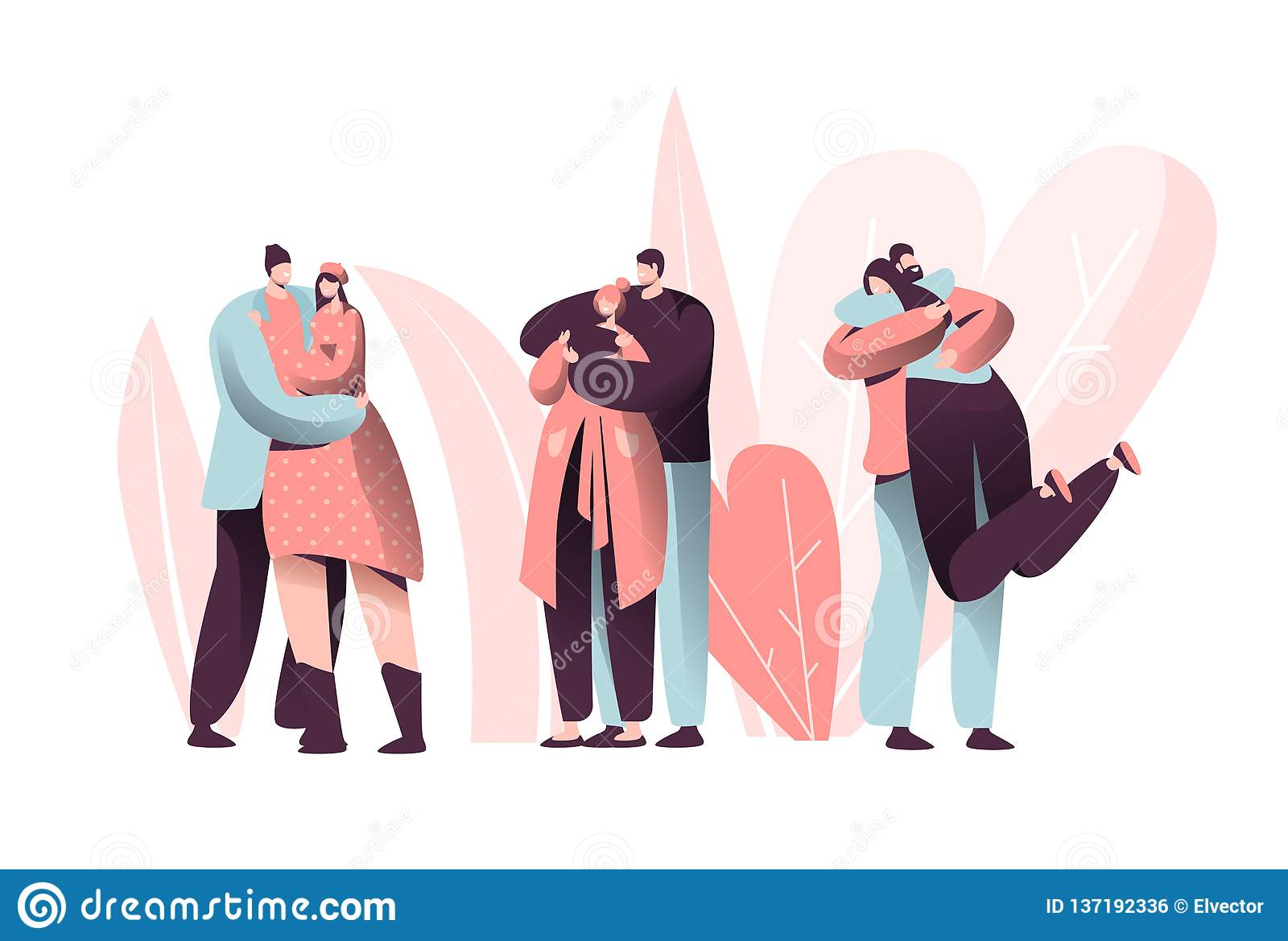 O amor acopla o abraço do caráter em Valentine Dating Set Estilo de vida feliz do aniversário do relacionamento do amante Homem d