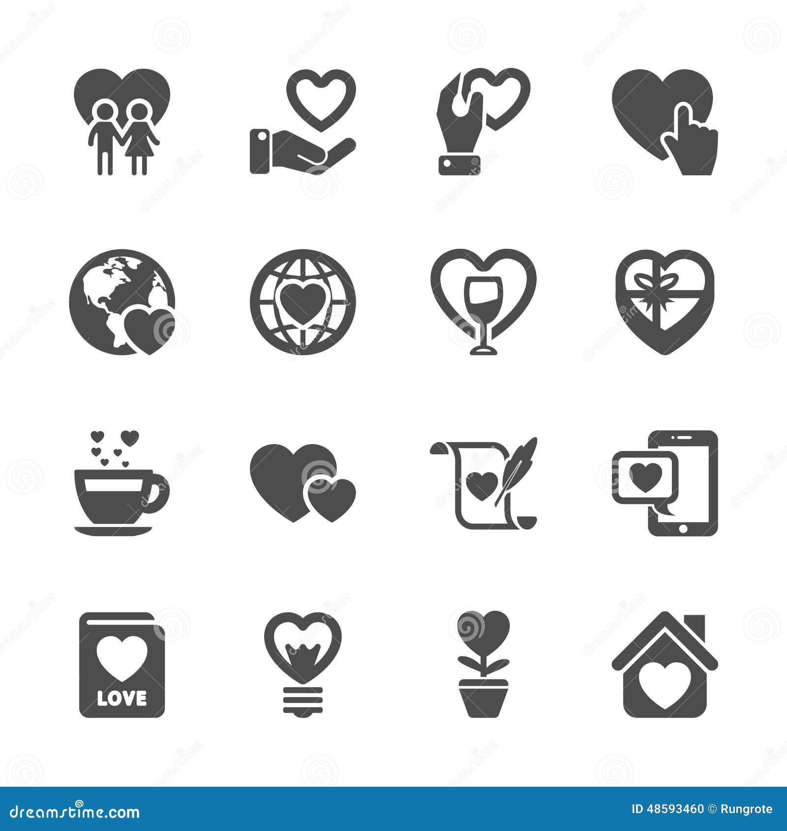 O amor e o ícone do Valentim ajustaram 3, vetor eps10