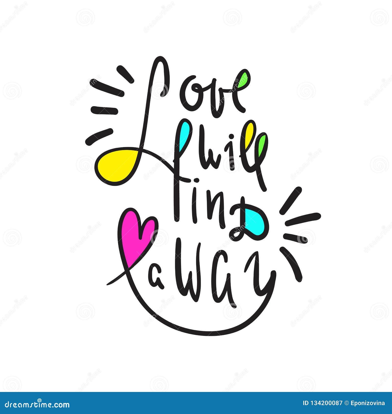 O amor encontrará uma maneira - inspire e citações inspiradores Rotulação bonita tirada mão Cópia para o cartaz inspirado, t-shir