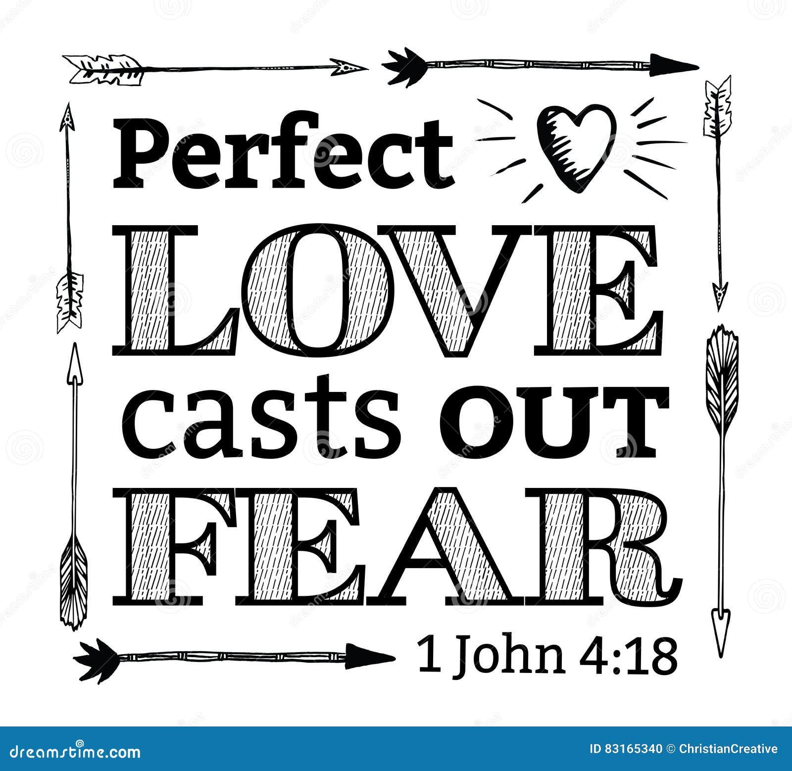 O amor perfeito molda para fora o emblema do medo