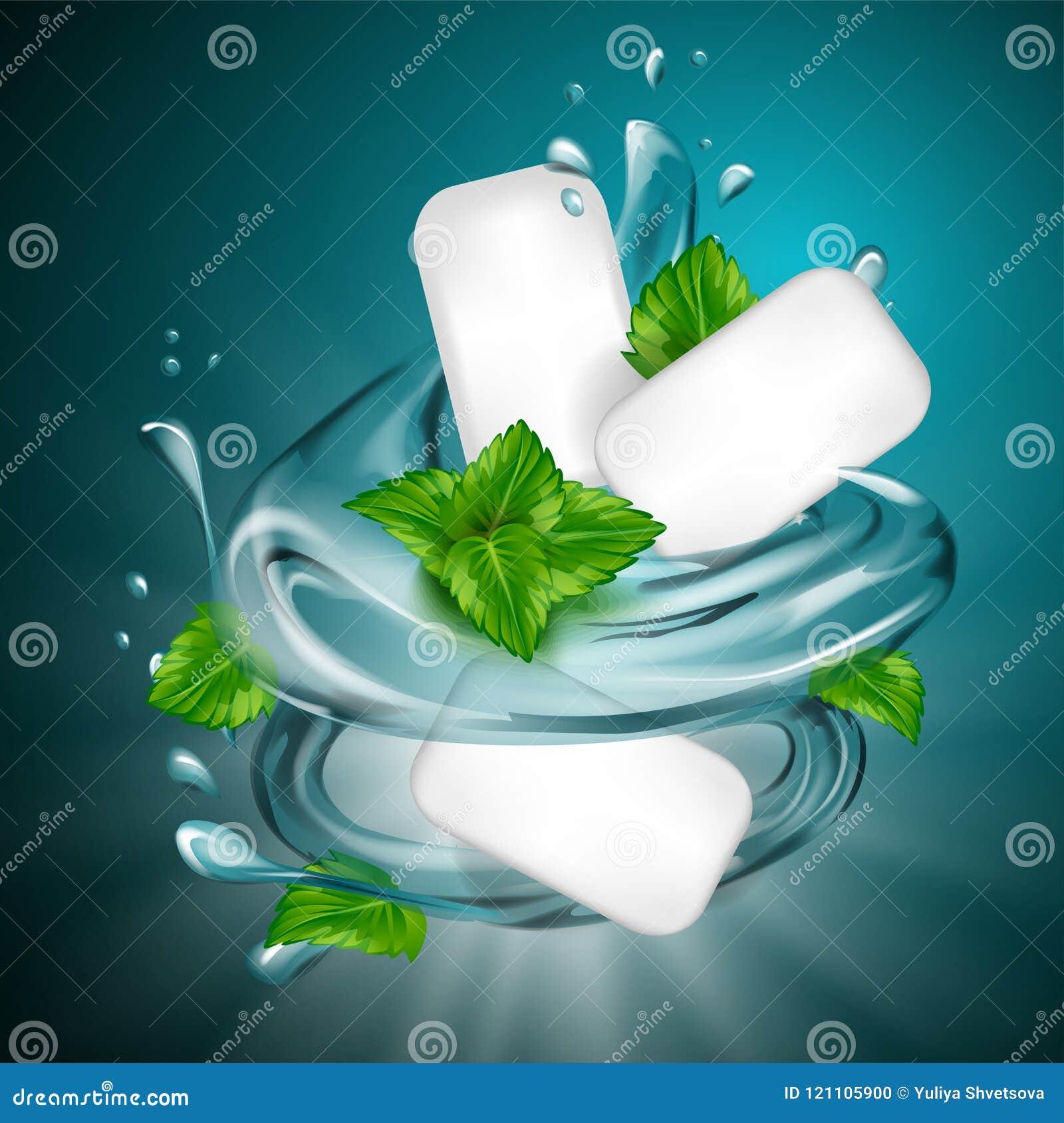 O anúncio da goma do sabor da hortelã com folha e a água espirram o elemento, na luz - fundo azul, a ilustração 3d