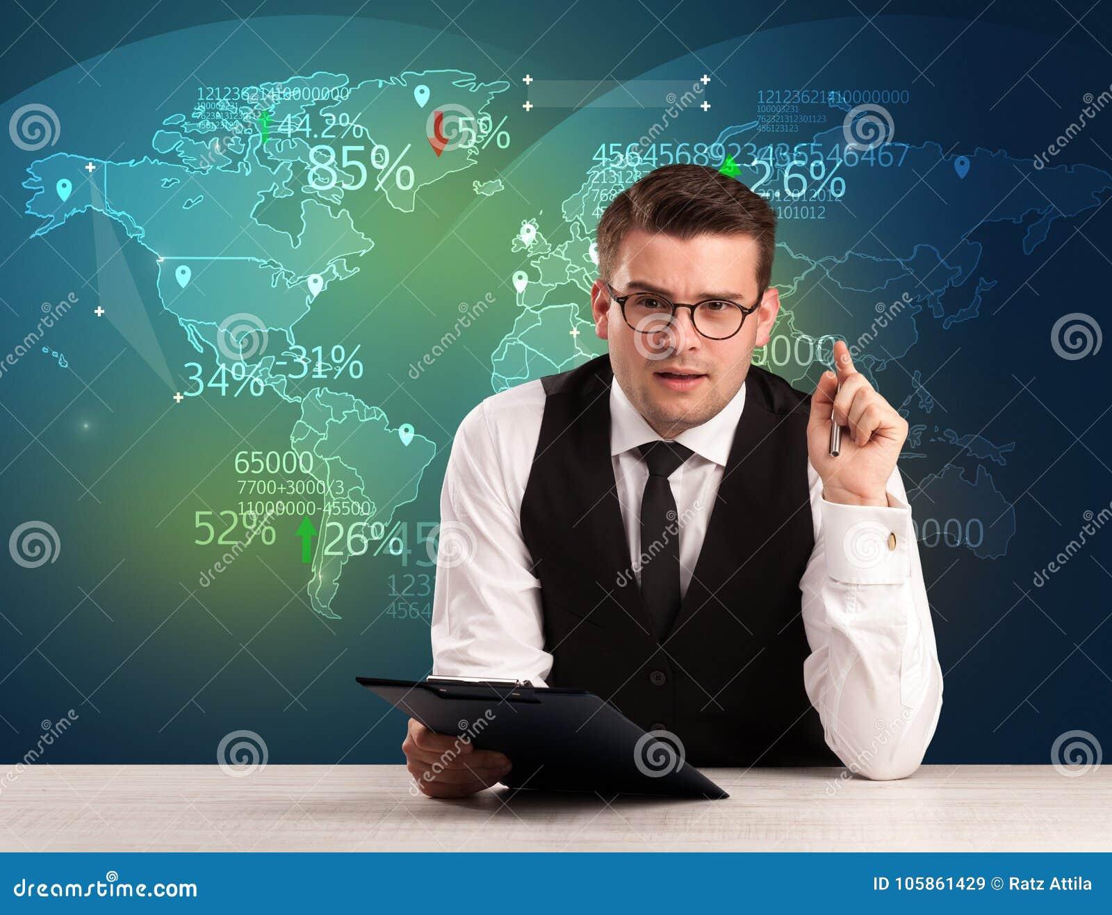 O analista de comércio do mercado é notícia de troca do mundo do relatório do estúdio com